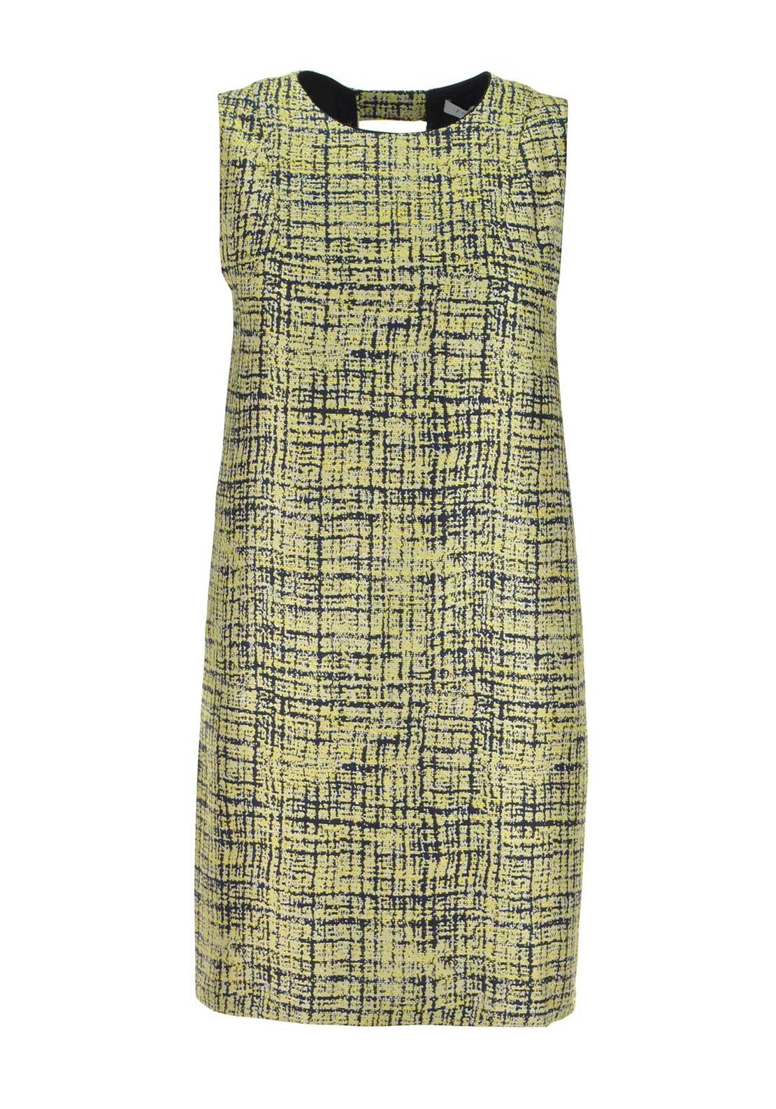 FRNCH Embossed Grid Print Shift Dress, Yellow