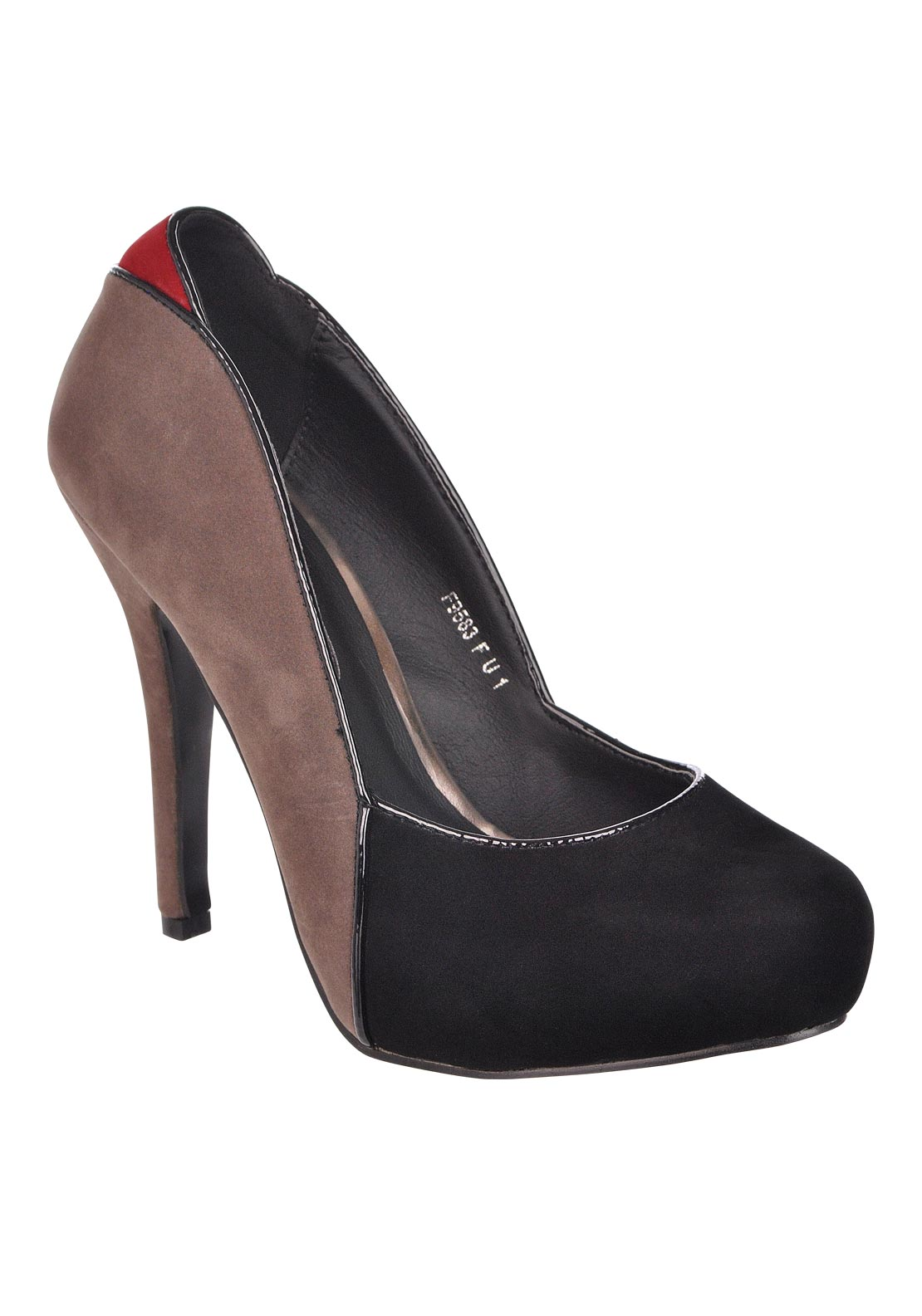 Boutique Two Tone Suede High Heel Shoe Grey/Black
