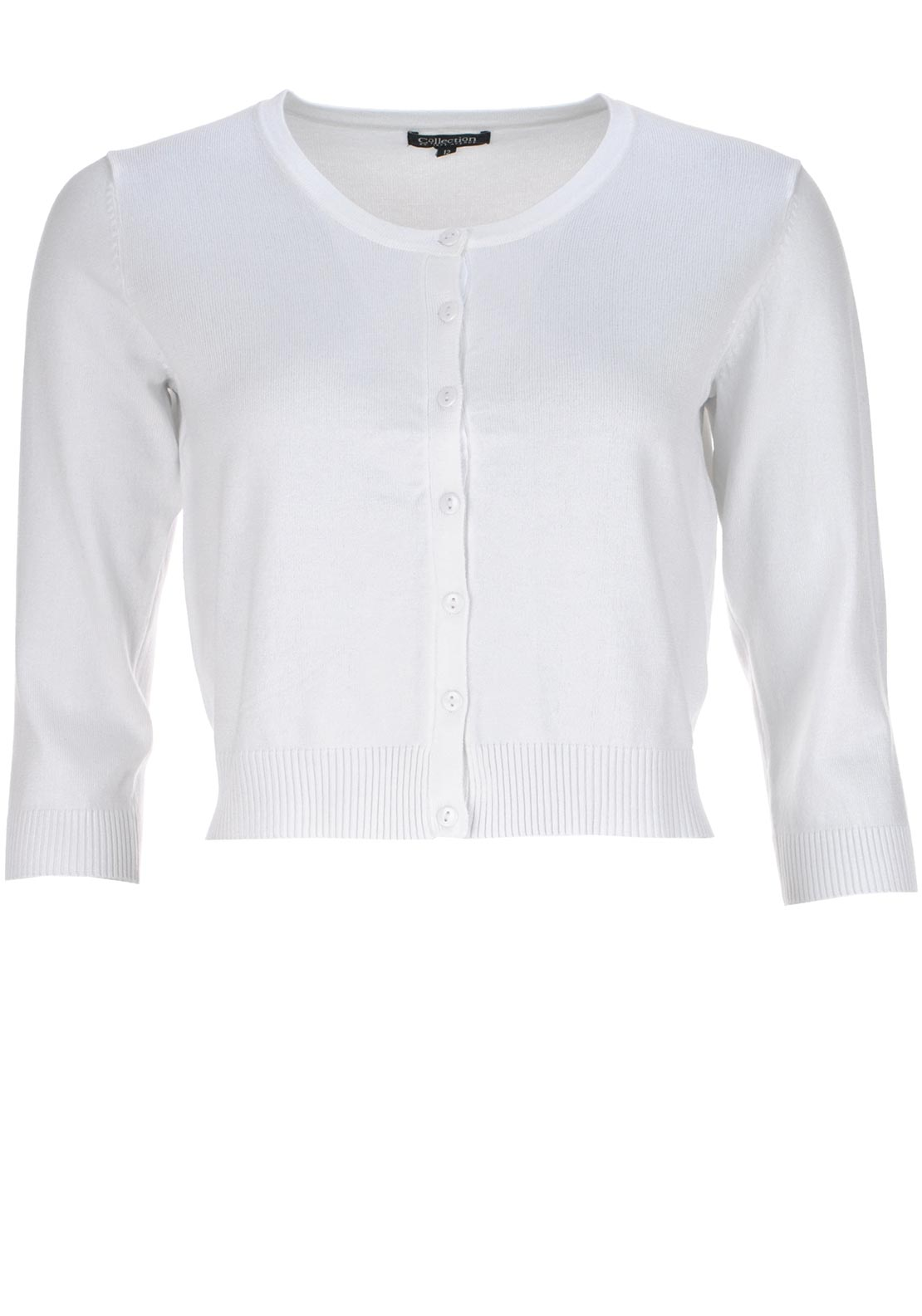 Collection by First Avenue Button Up Cropped Cardigan, White