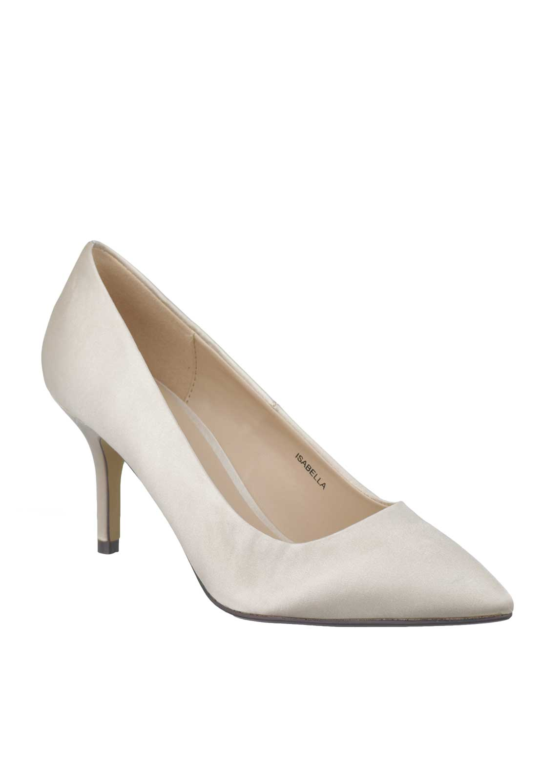 Lunar Isabella Satin Pointed Toe Court Shoes, Nude