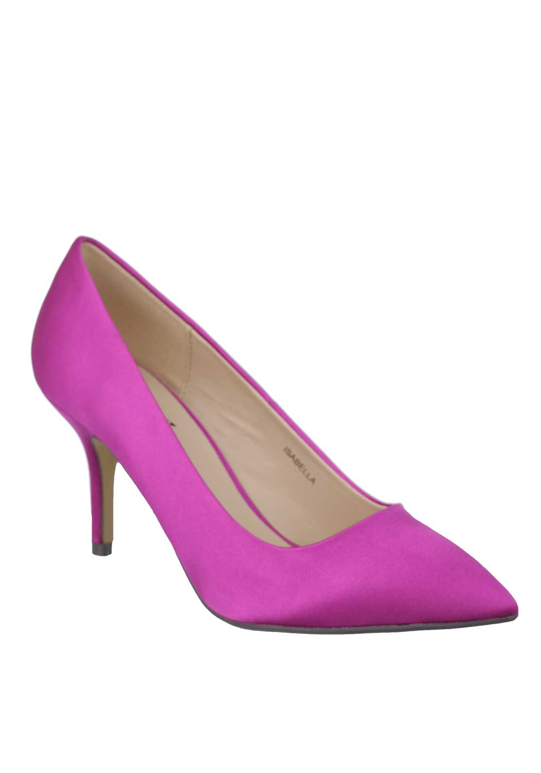 Lunar Isabella Satin Pointed Toe Court Shoes, Hot Pink