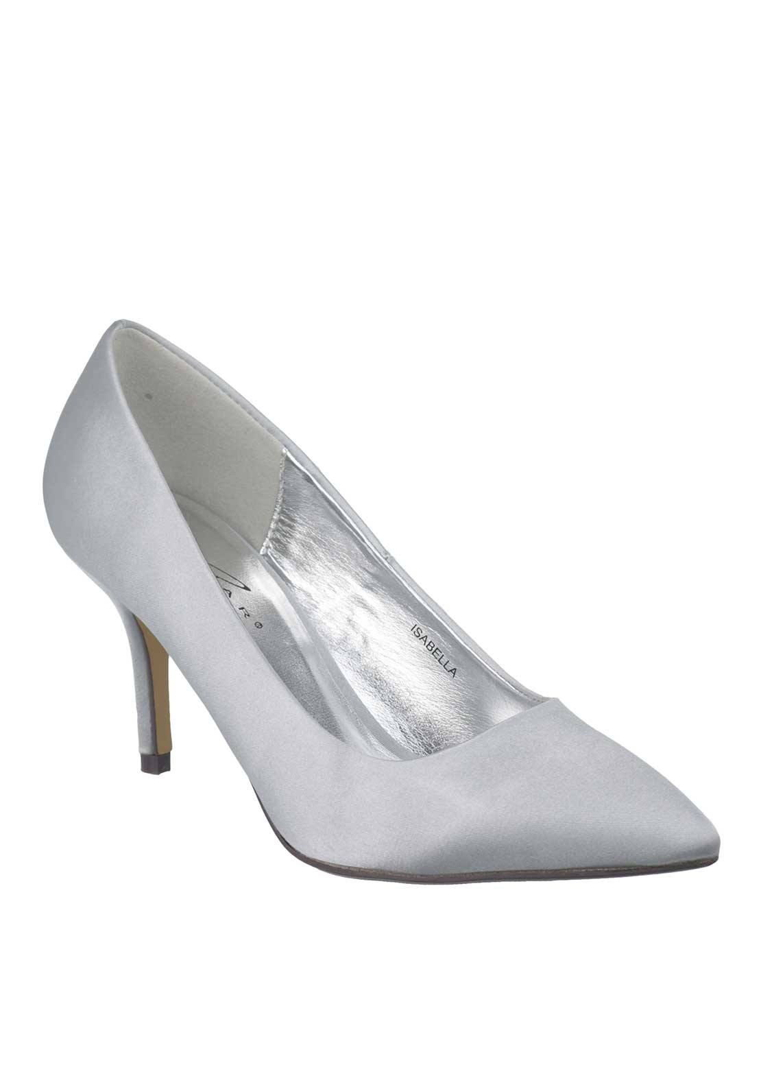 Lunar Isabella Satin Pointed Toe Court Shoes, Silver
