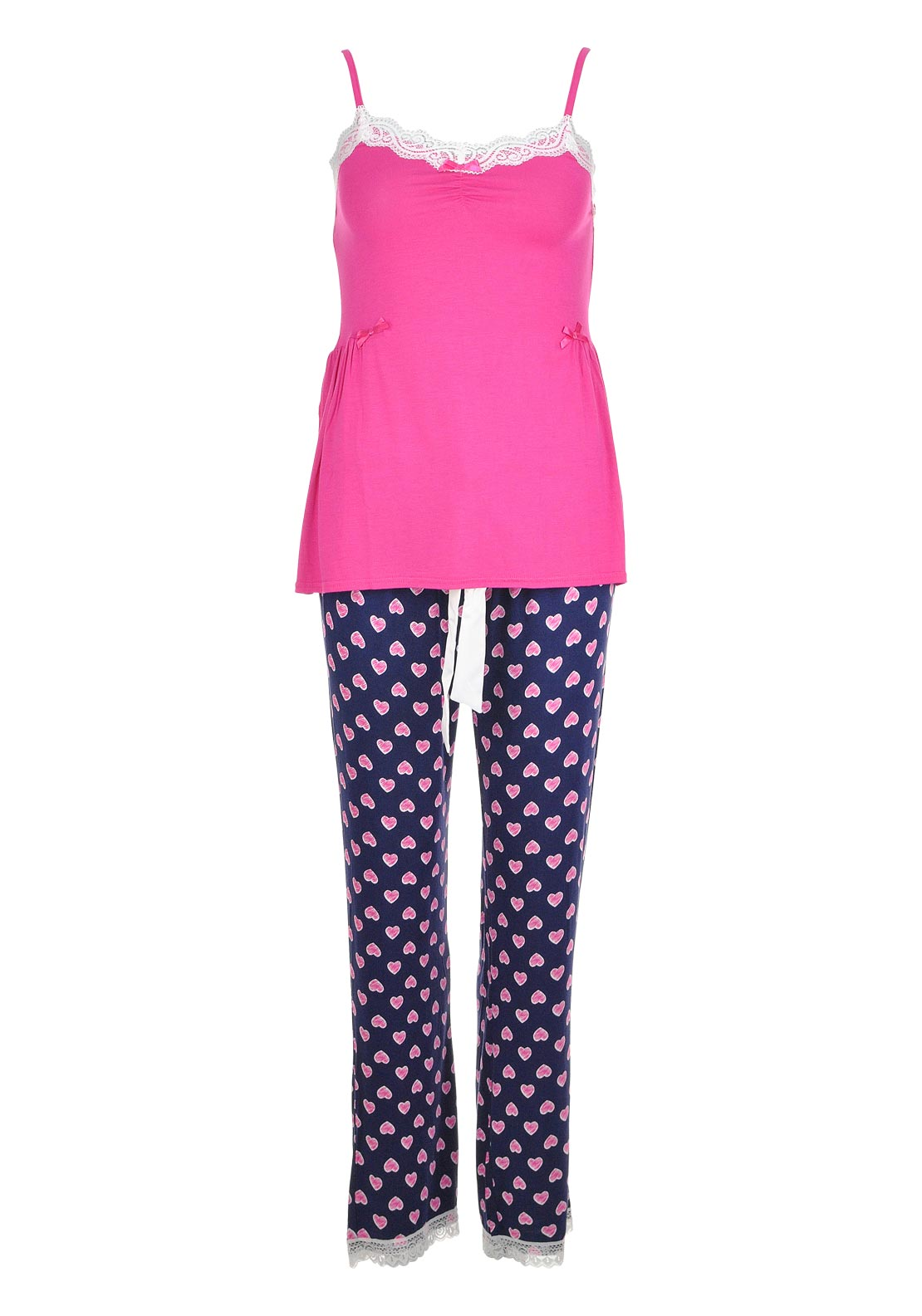 Fresh Nightwear Cami Lace Top & Heart Print Pant Pyjamas Set, Pink and Navy