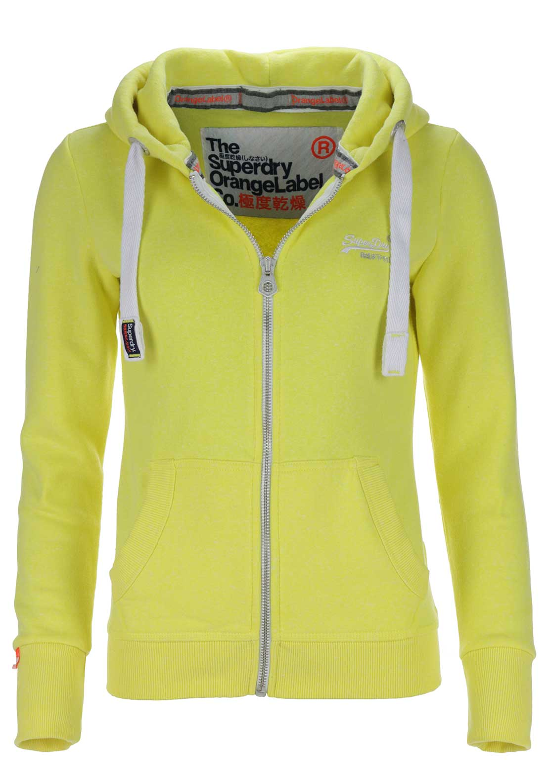 Superdry Womens Orange Label Primary Zip Hoodie, Daisy Yellow Snowy
