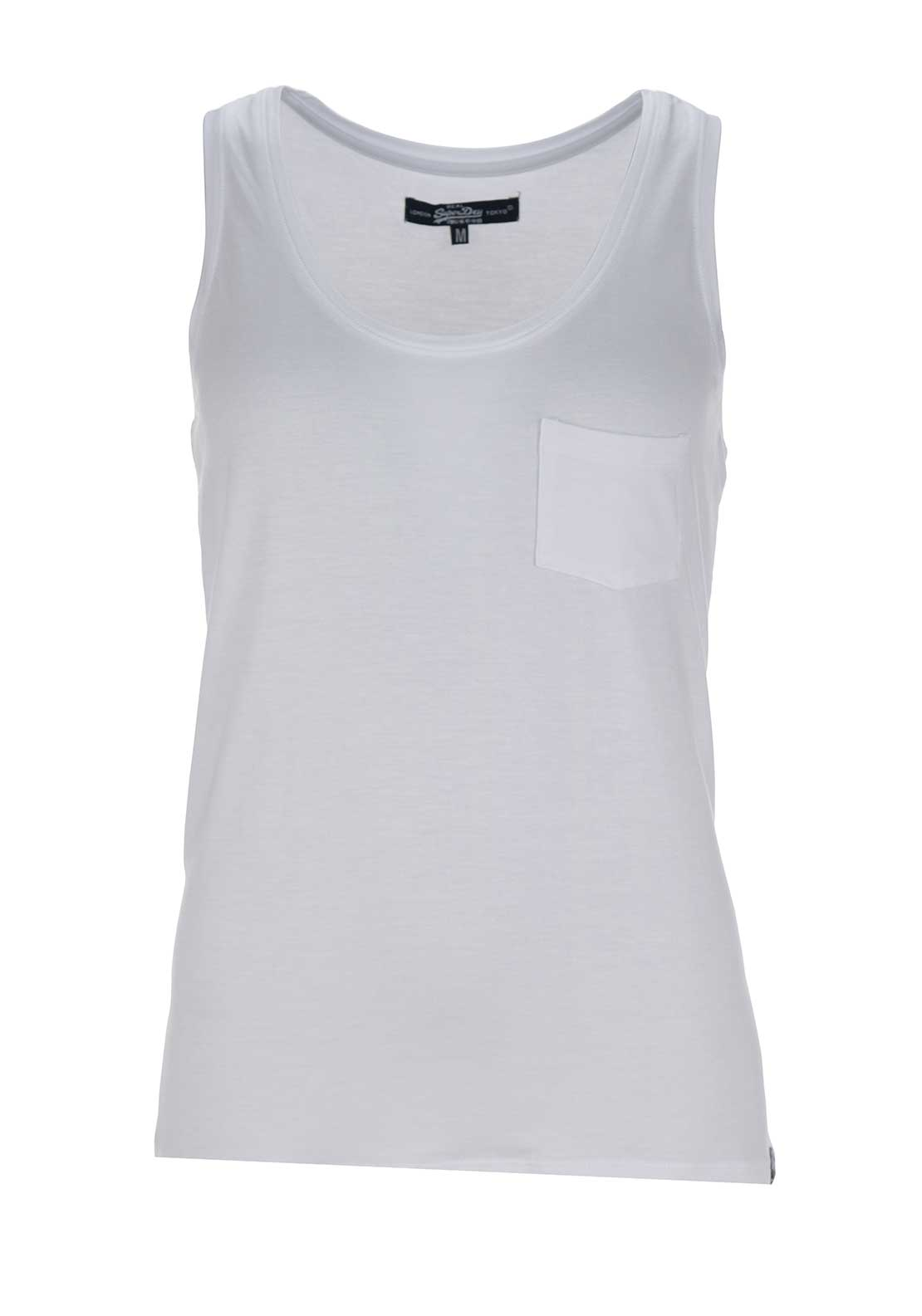 Superdry Womens Essentials Drapey Pocket Tank Top, White