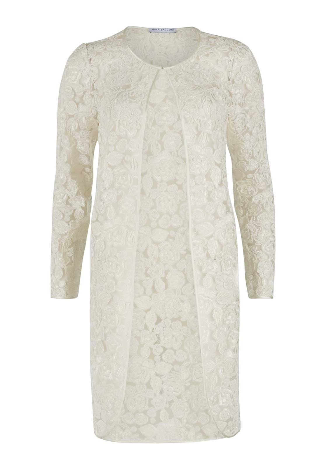 Gina BacconiI lace floral print coat