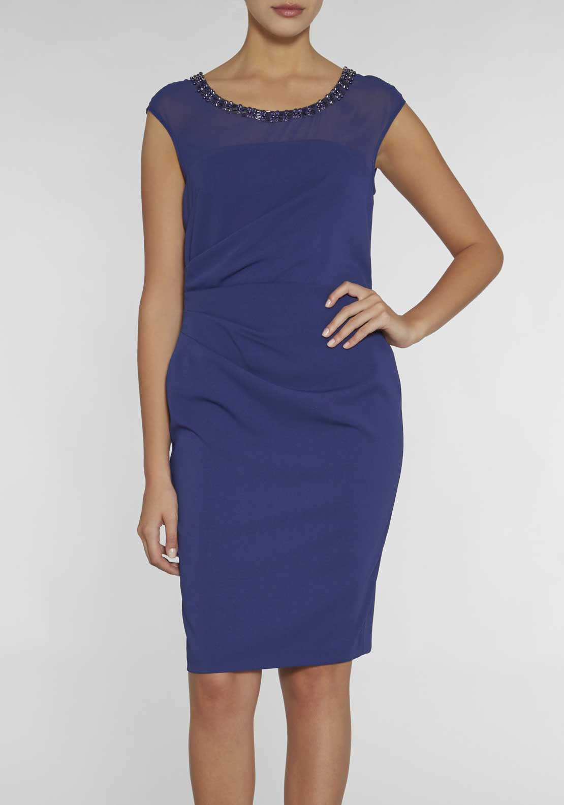 Gina Bacconi Embellished Crepe Pencil Dress, Navy