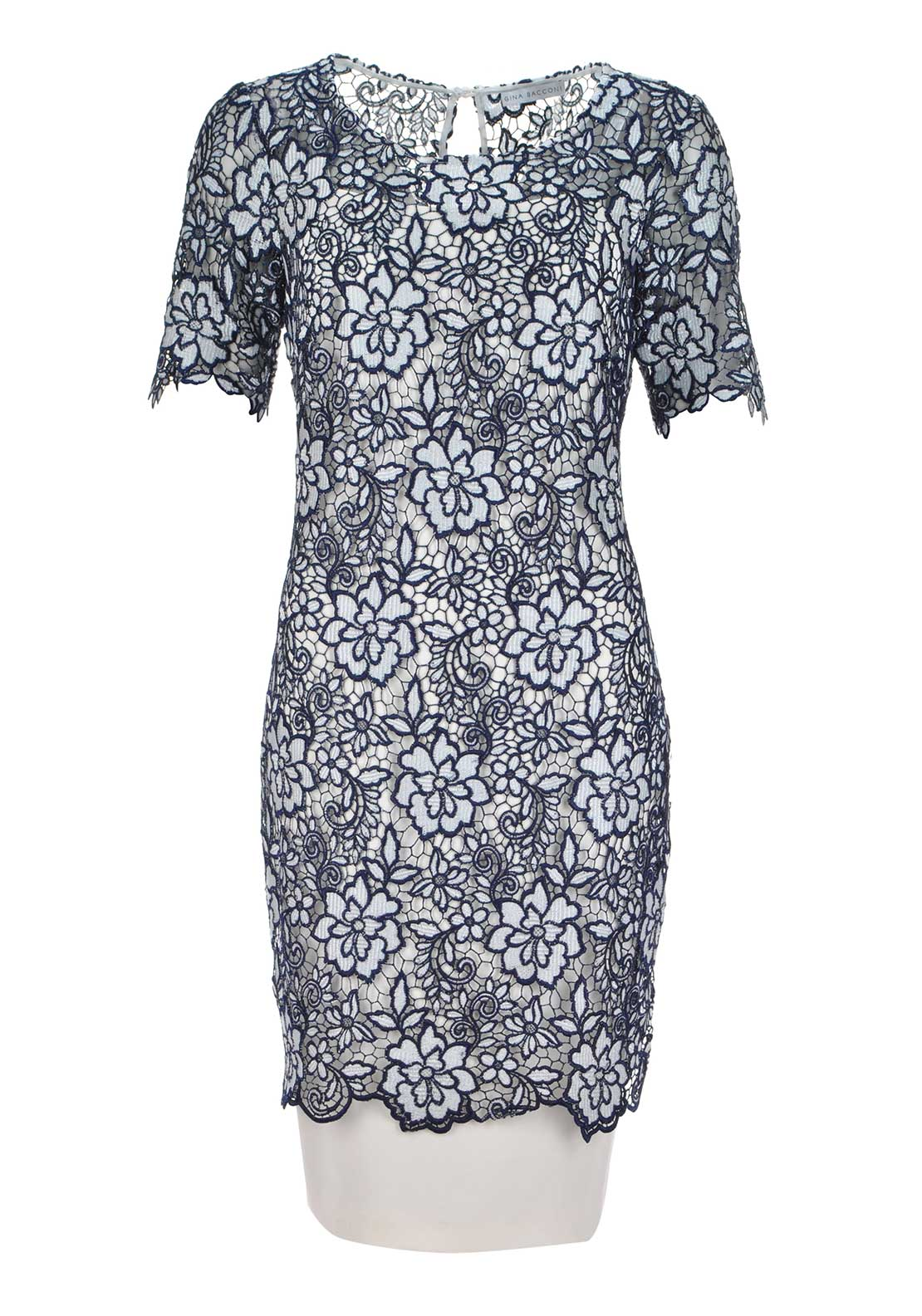 Gina Bacconi Guipure Lace Overlay Short Sleeve Pencil Dress, Navy and Cream
