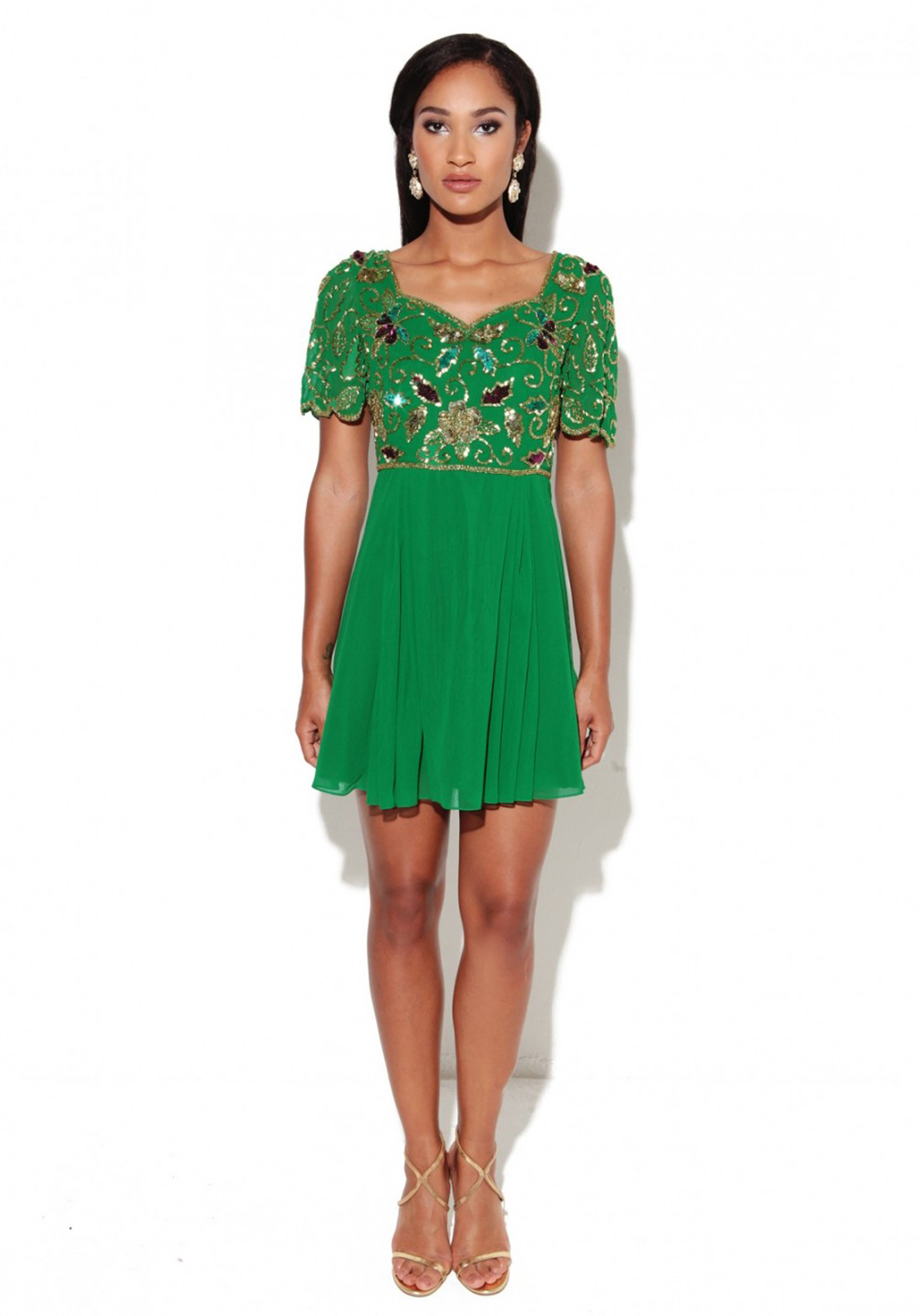 Virgos Lounge Gene Embellished Fit and Flare Dress, Green