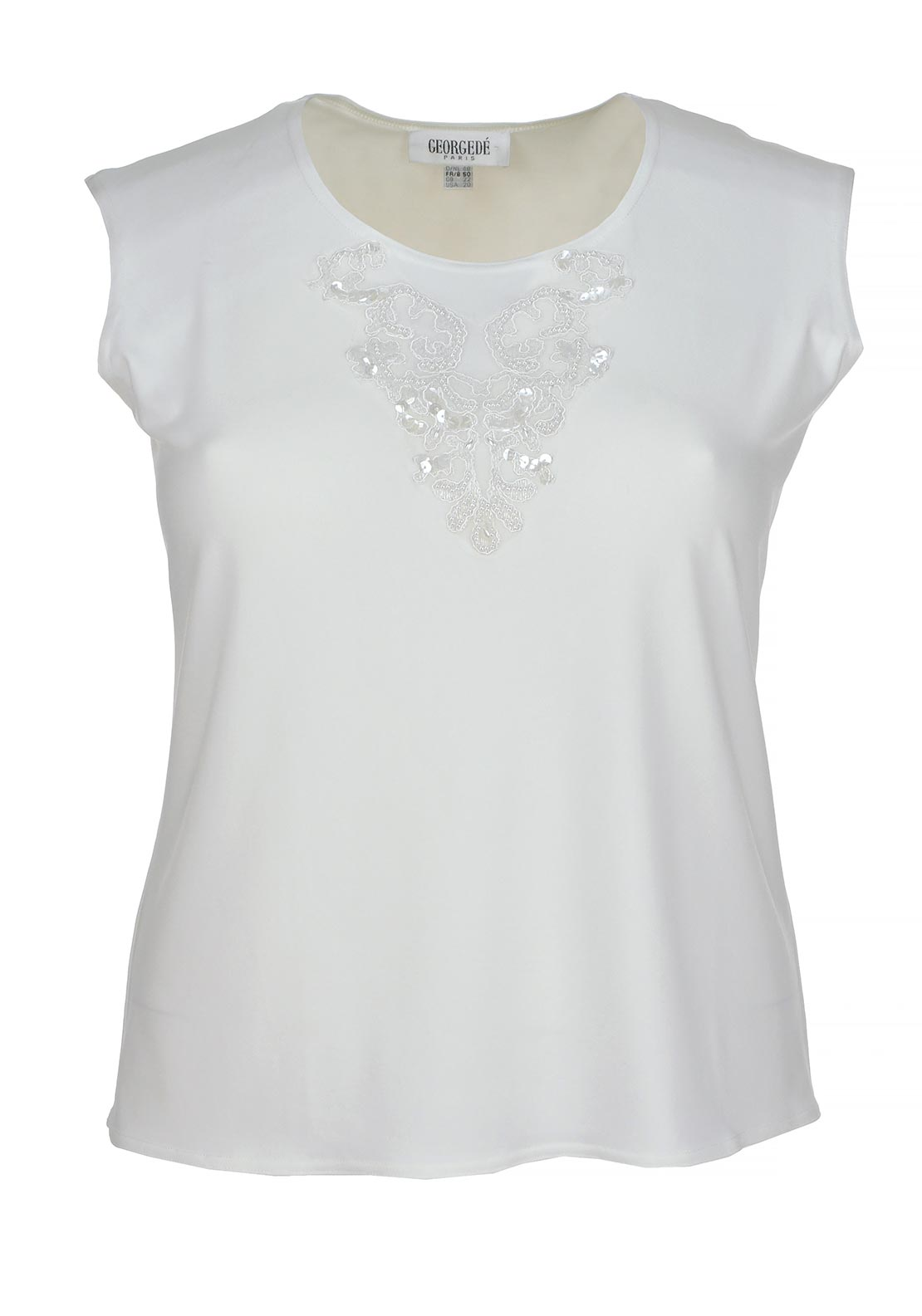 Georgede Embellished Sleeveless Top, Ecru Cream