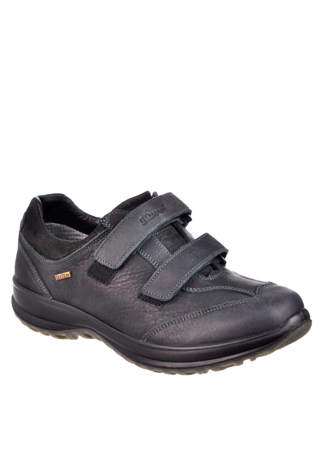 Grisport Lewis Velcro Strap Leather Walking Shoes, Black