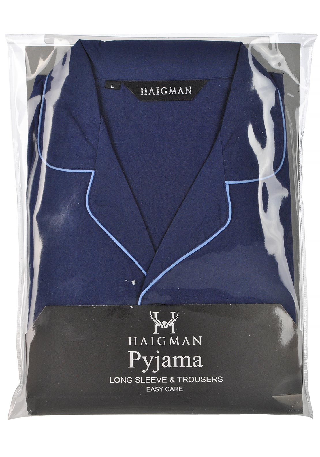 Haigman Mens Brushed Cotton Pyjama Set Navy