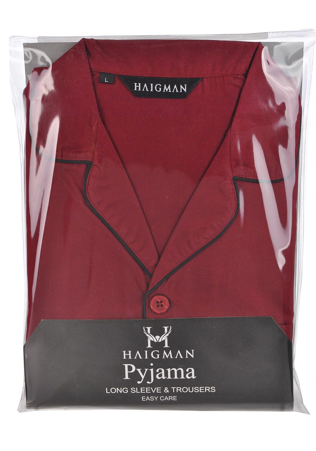 Haigman Mens Brushed Cotton Wine Pyjama Set