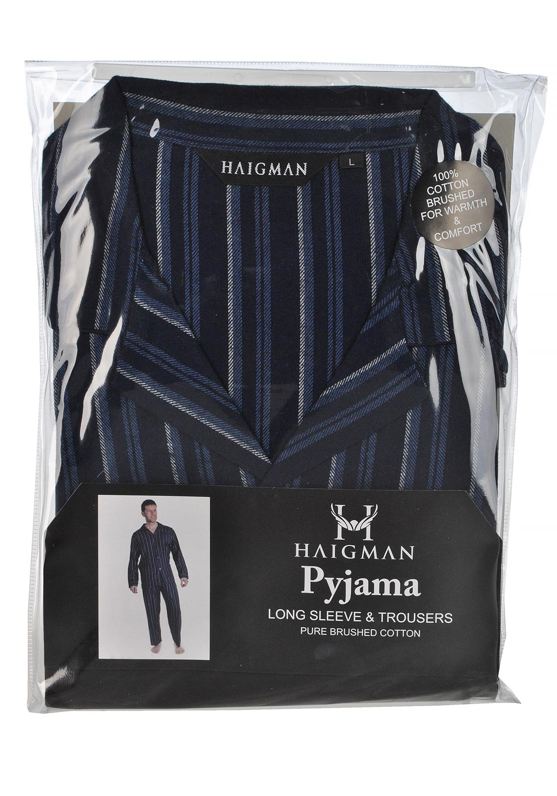 Haigman Mens Brushed Cotton Navy Pyjama Set