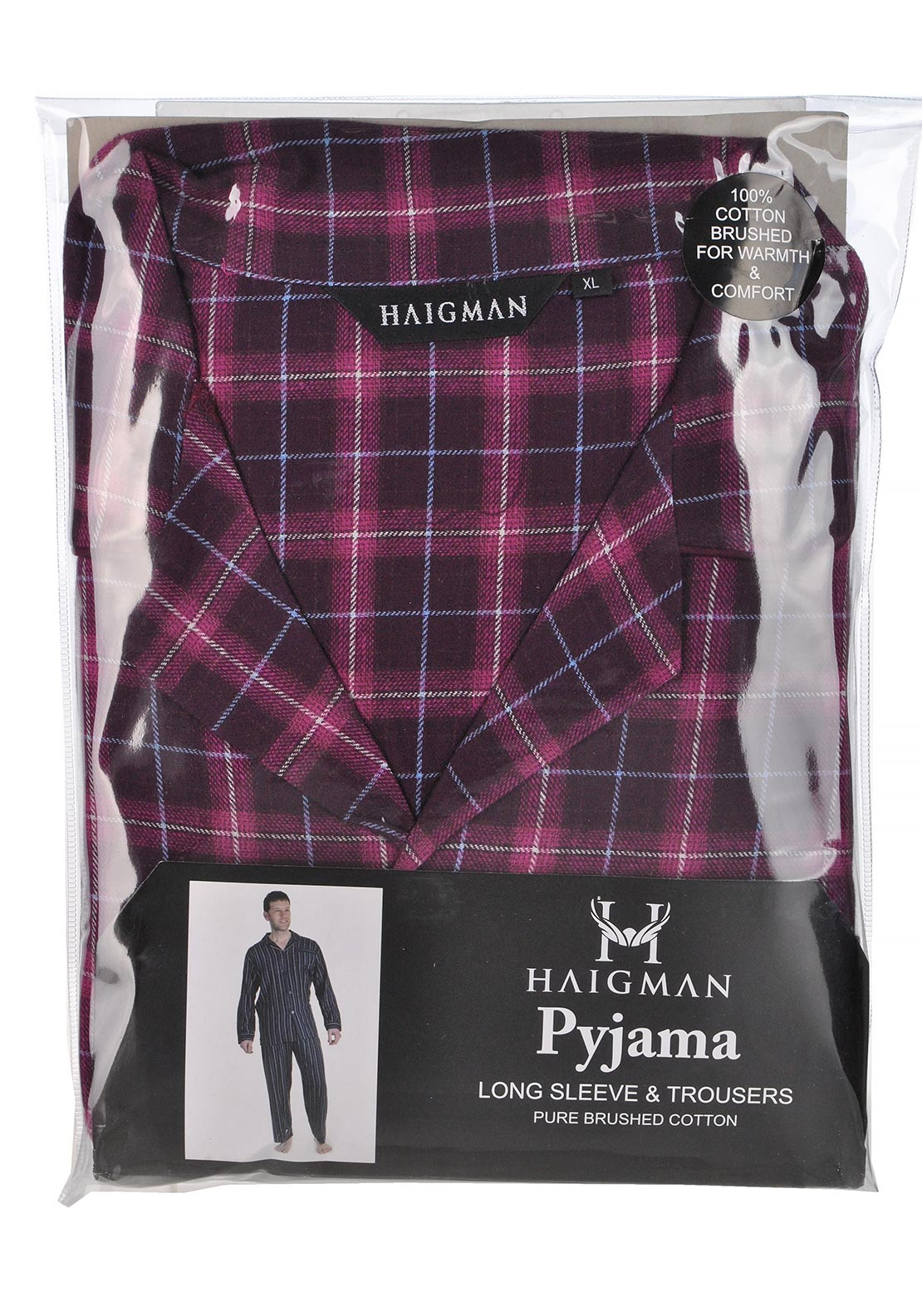 Haigman Mens Brushed Cotton Pyjama Set Wine