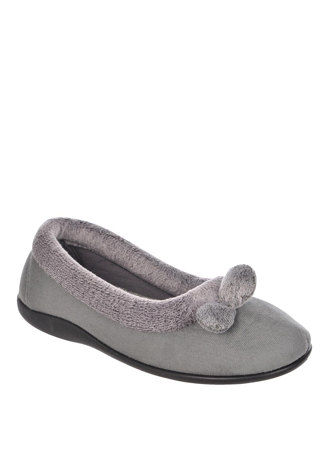 Lotus Womens Harriets Pom Pom Detail Slippers, Grey