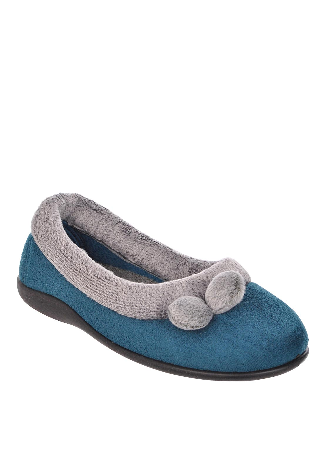 Lotus Womens Harriets Pom Pom Detail Slippers, Teal