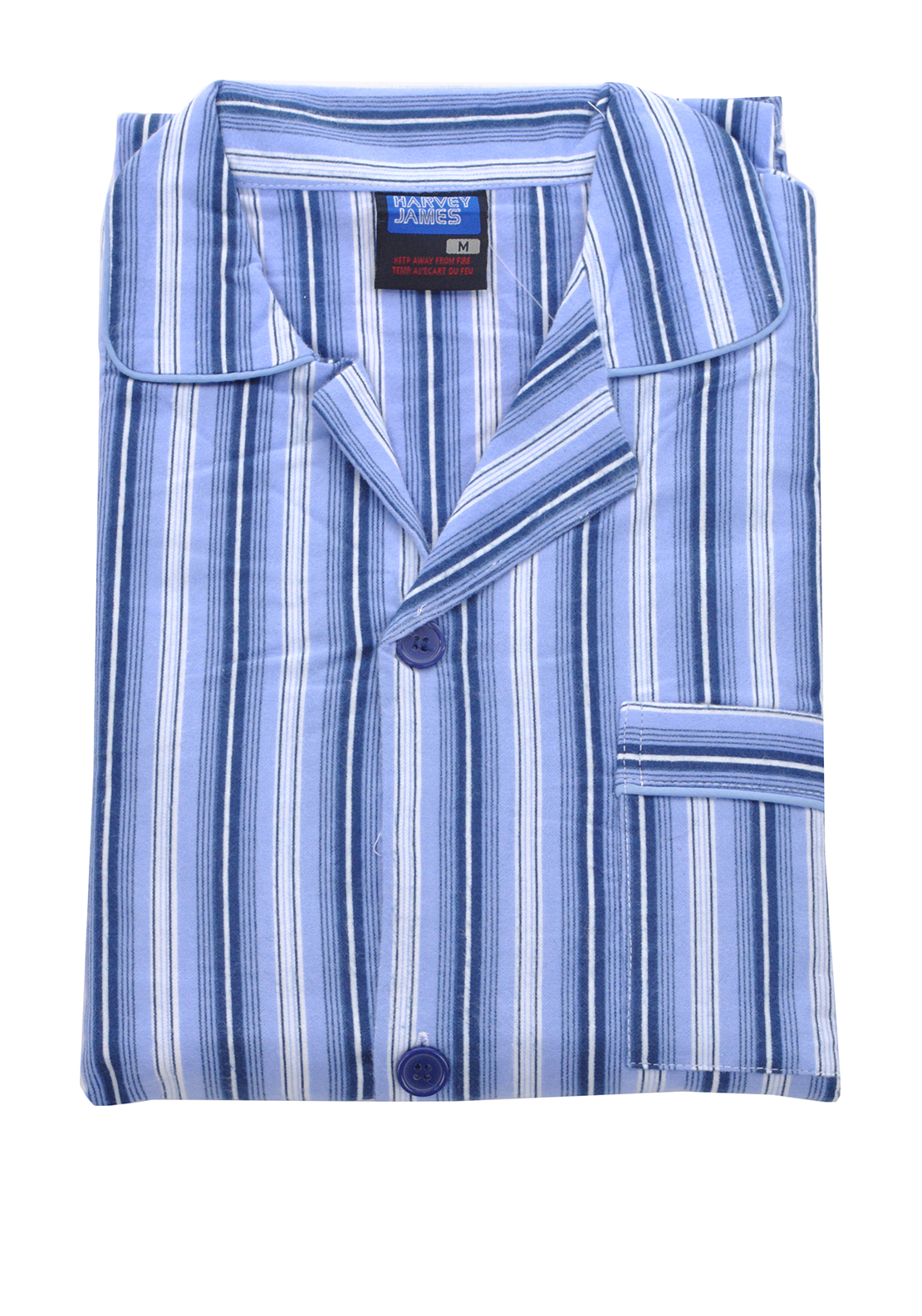 Harvey James Mens Striped Pyjamas, Navy