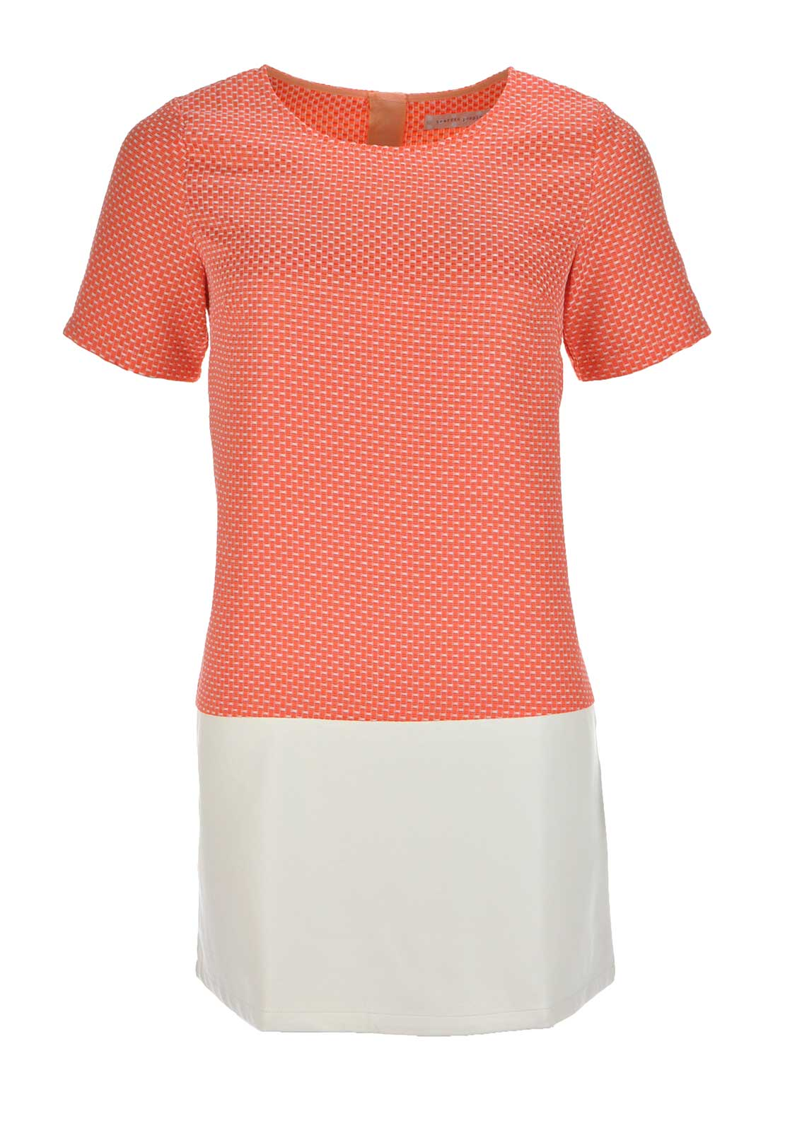 Traffic People Embossed Print Faux Leather Panel Shift Dress, Coral