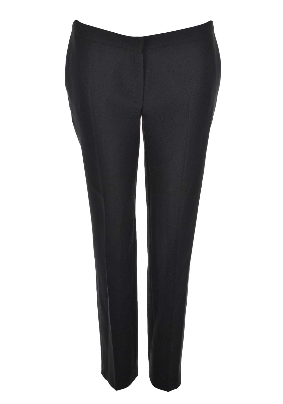 Izabella Slim Leg Stretch Crepe Trousers, Black