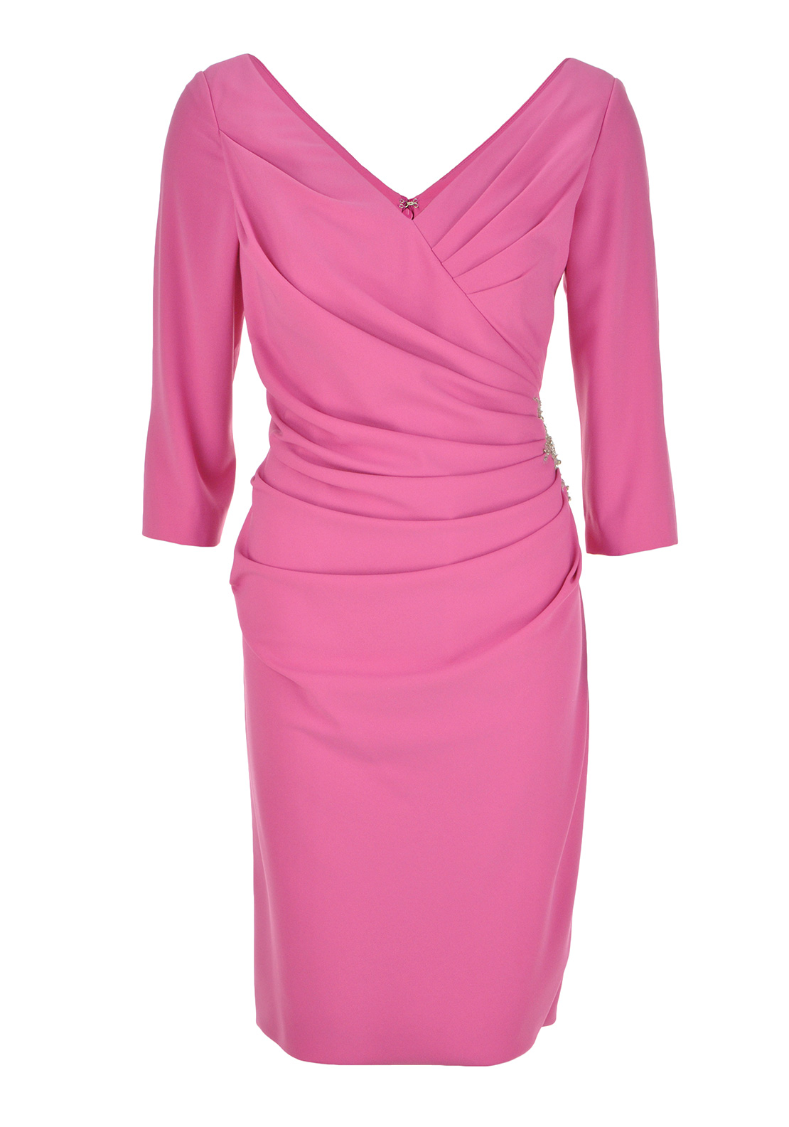 Irresistible Three Quarter Sleeve Occasion Dress, Pink