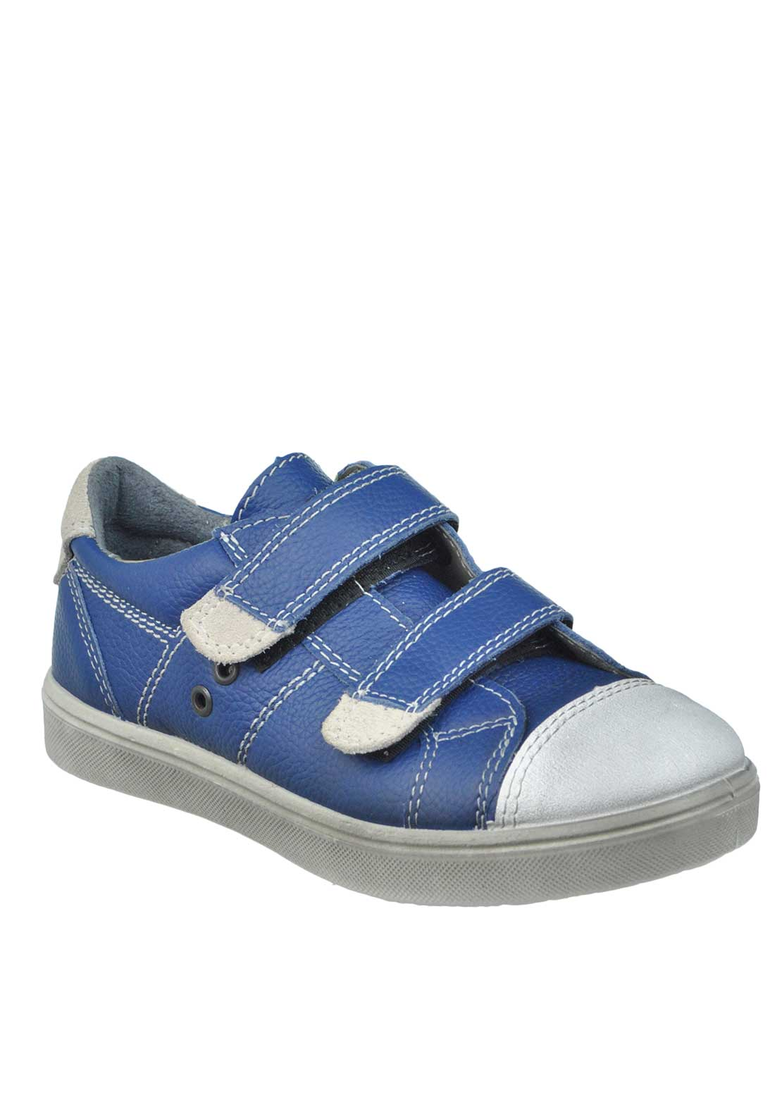 Ricosta Kids Jenson Leather Velcro Strap Trainers, Navy