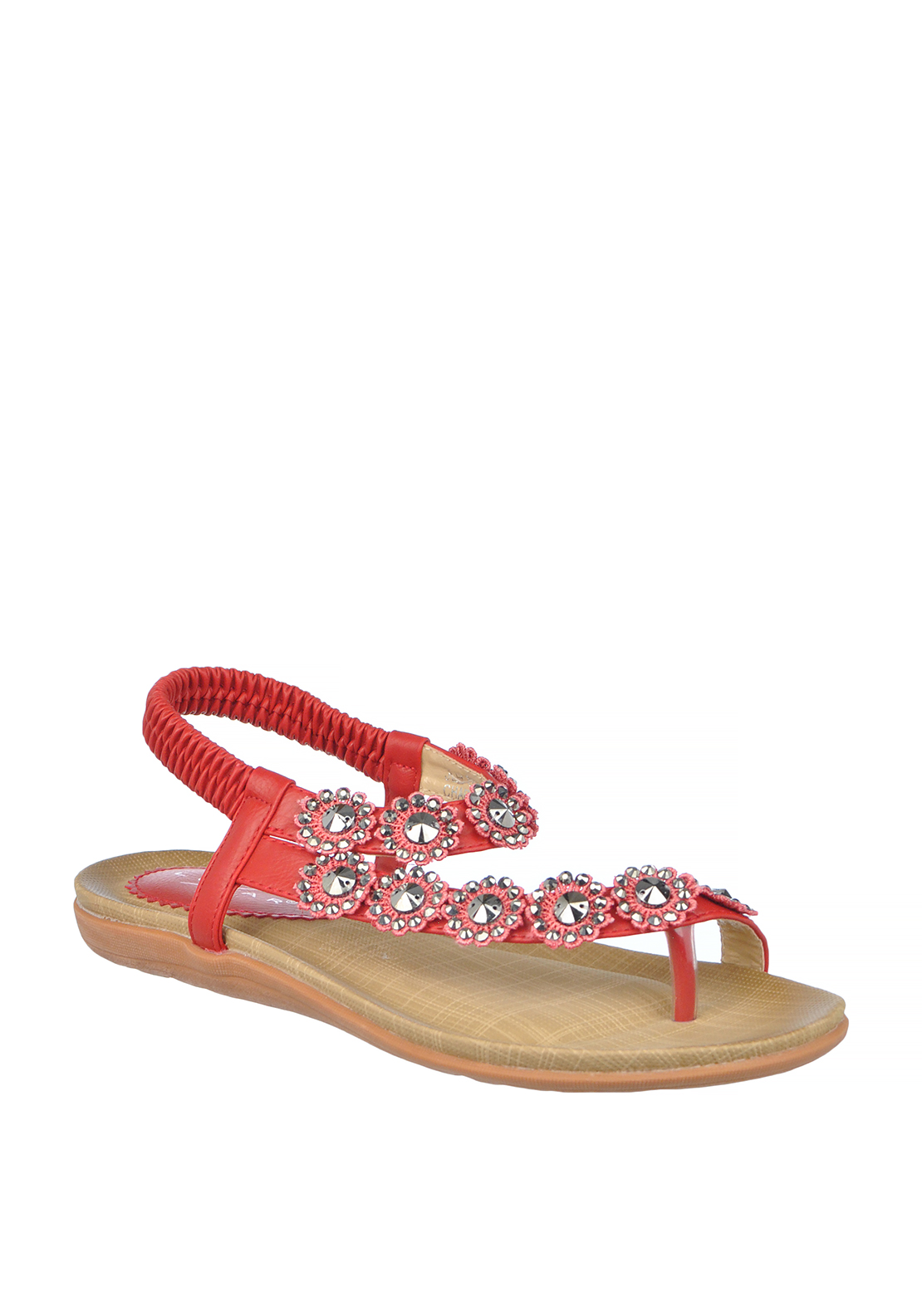 Lunar Charlotte Flower Embellished Toe Post Sandals, Red
