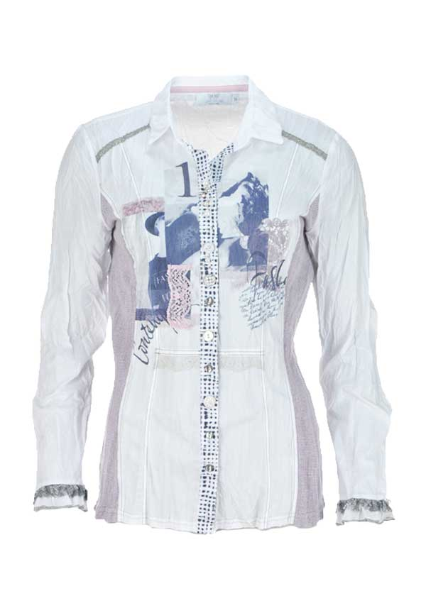 Just White Graphic Print Crushed Long Sleeve Blouse, White Multi