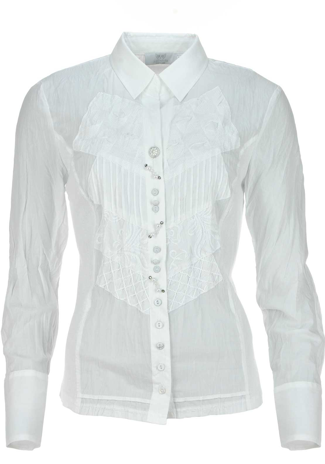 Just White Embroidered Long Sleeve Blouse, White