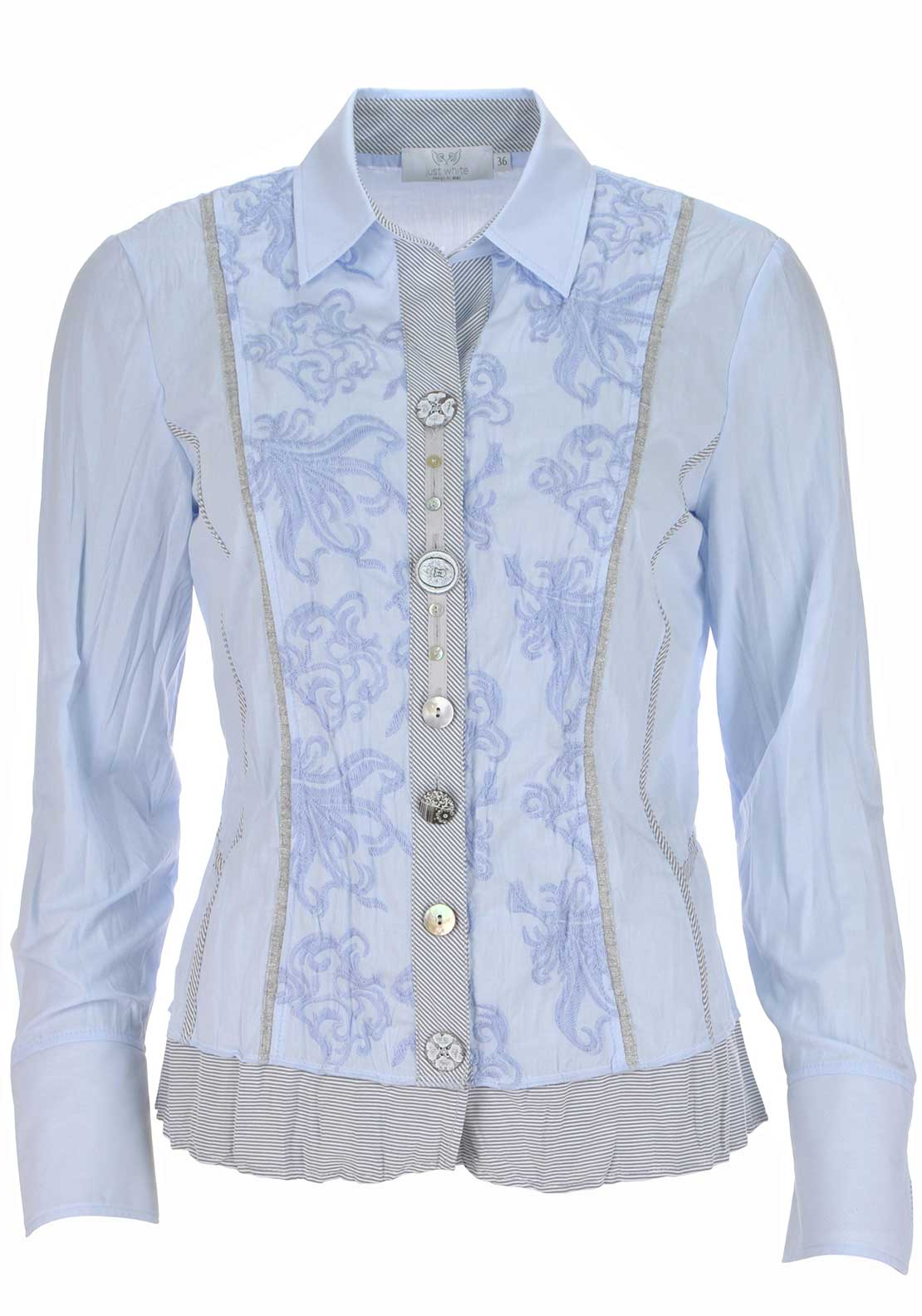 Just White Embroidered Long Sleeve Blouse, Pale Blue