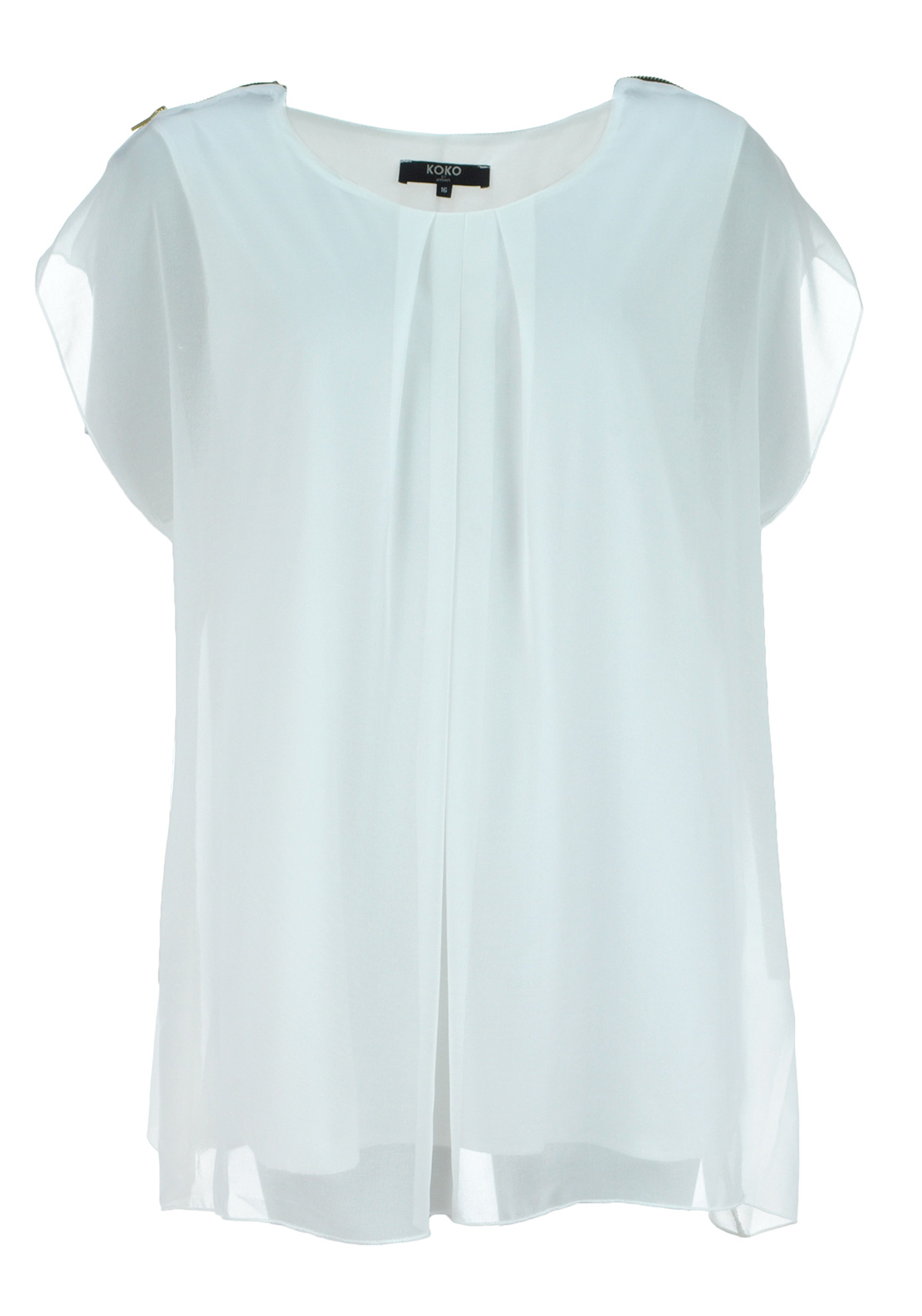 Lovedrobe Zip Shoulder Chiffon Tunic Top, Ivory