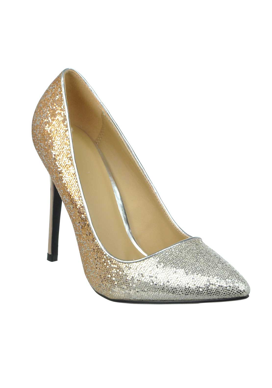 Livesey Glitter Multi Tonal Pointed Toe Heeled Shoes, Silver and Gold