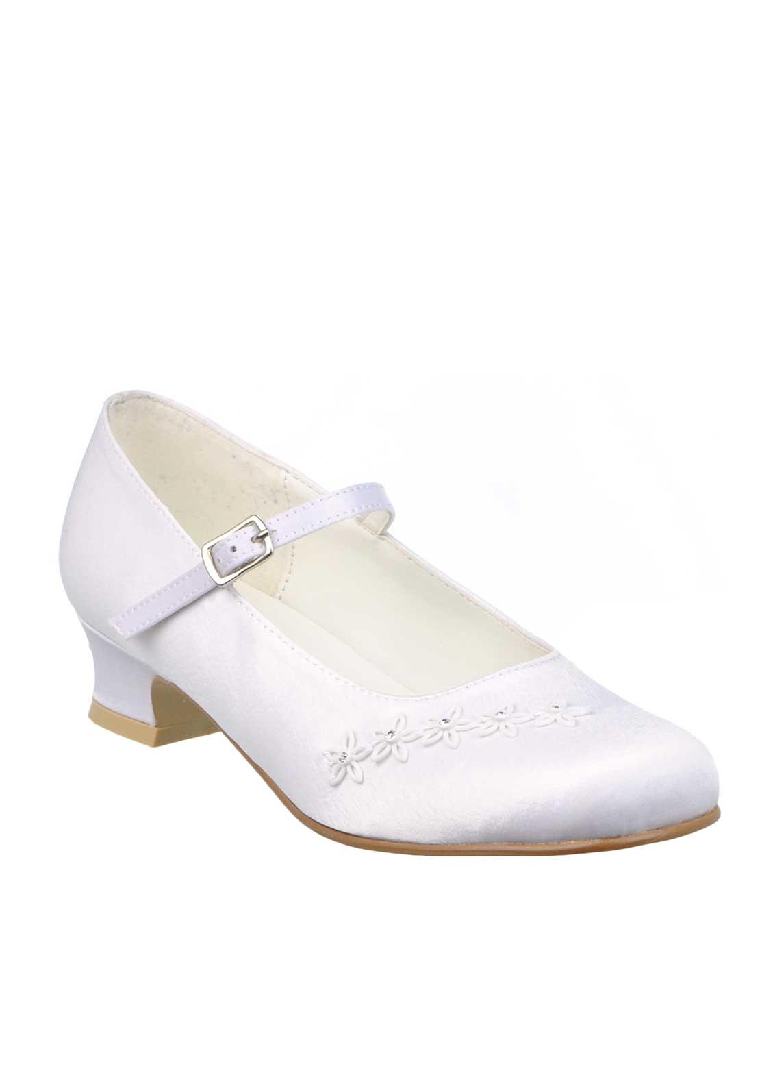 Little People Girls Diamante Embellished Flower Communion Shoes, White