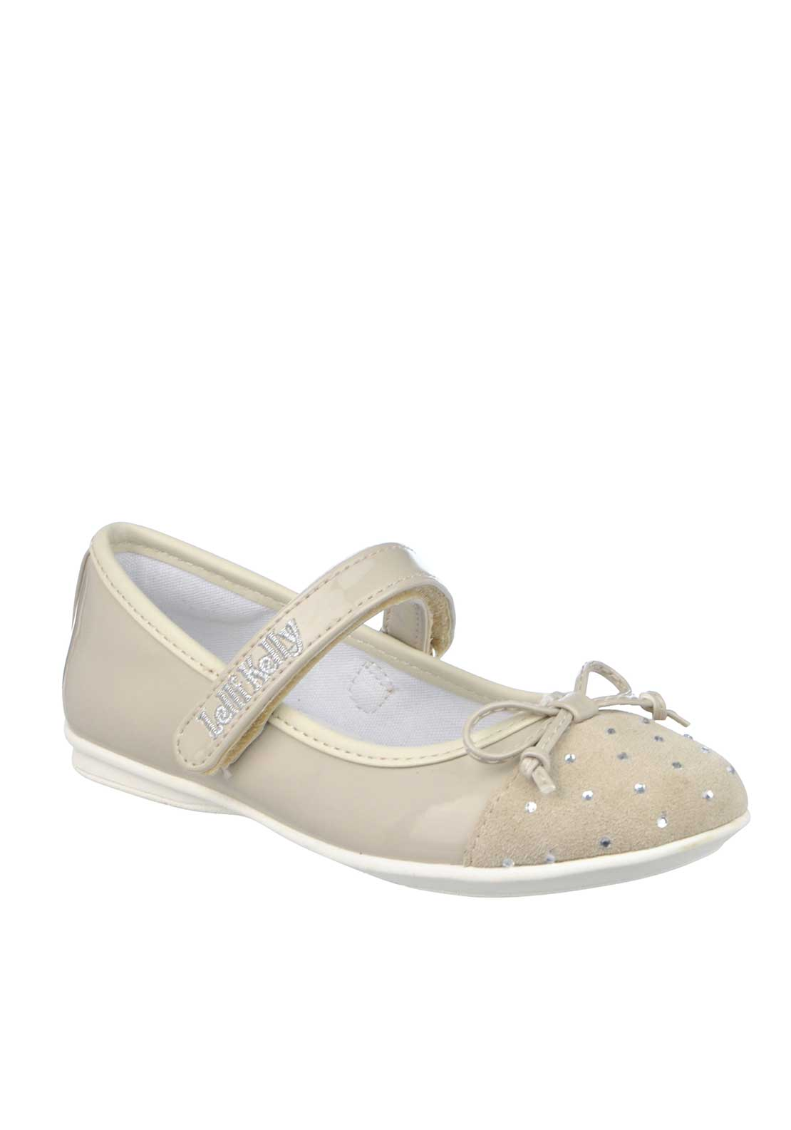 Lelli Kelly Girls Patent Leather Vanessa Velcro Dolly Shoes, Beige