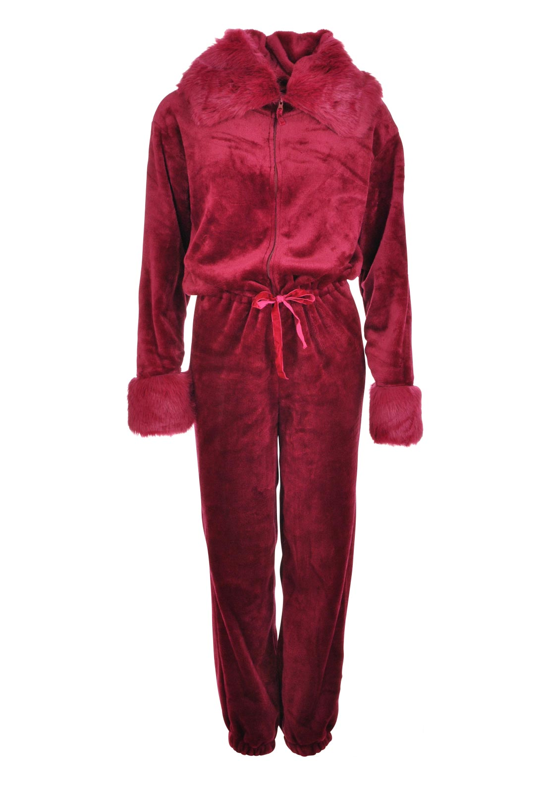 Inspirations Luxury Faux Fur Trimmed Hood Onesie, Wine