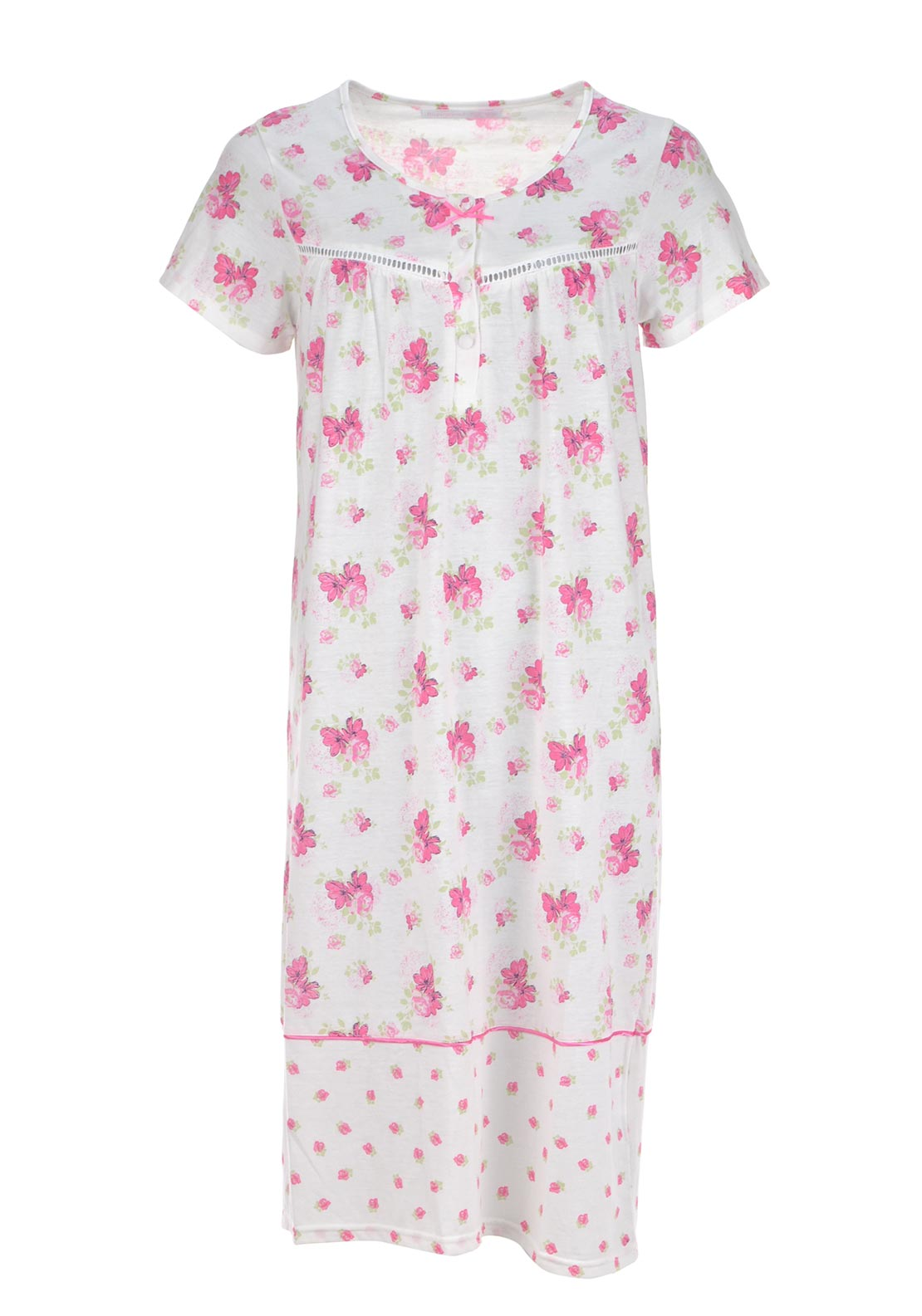 Inspirations Floral Print Short Sleeve Nightdress, Pink and White