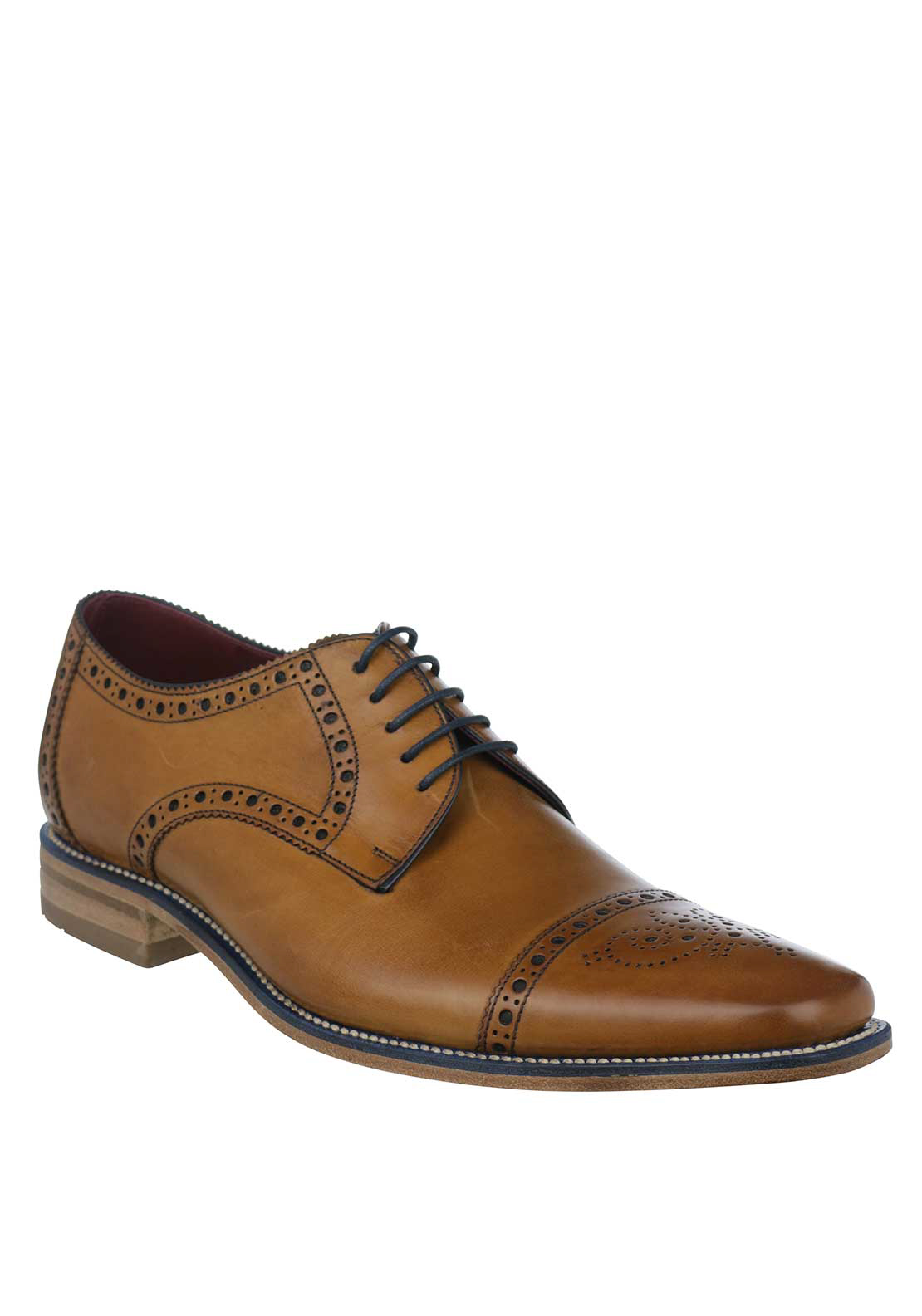 Loake Foley Lace Up Leather Brogue Shoe, Tan