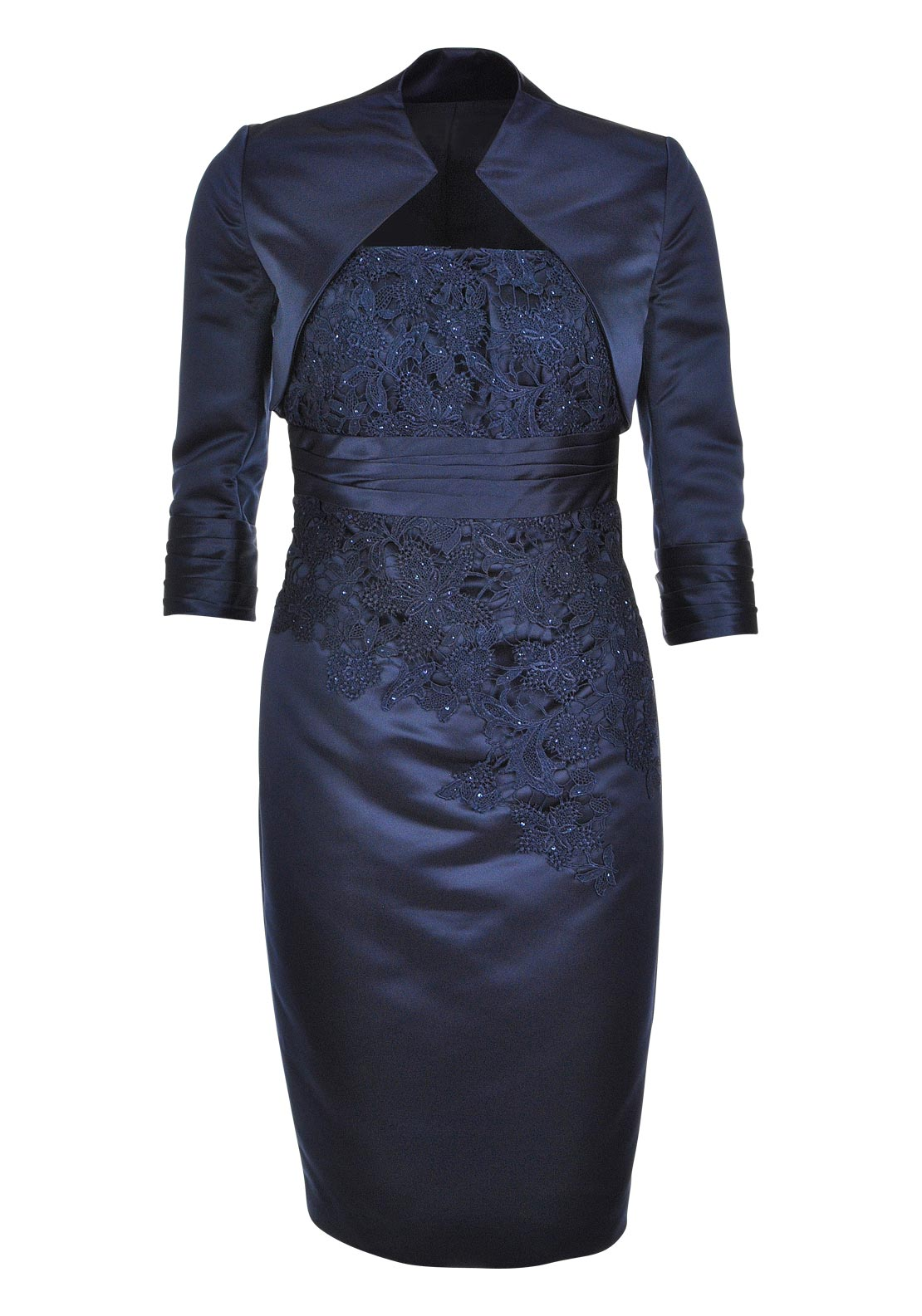 L'Atelier Occasion Wear Satin and Lace Dress and Bolero Jacket, Navy