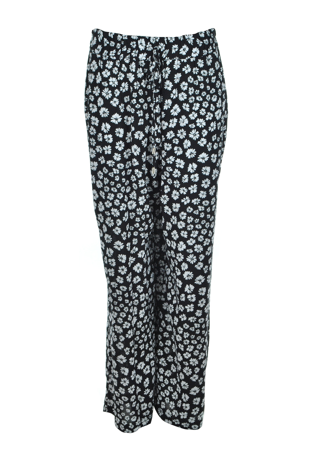 Lovedrobe Floral Print Wide Leg Trousers, Black and White