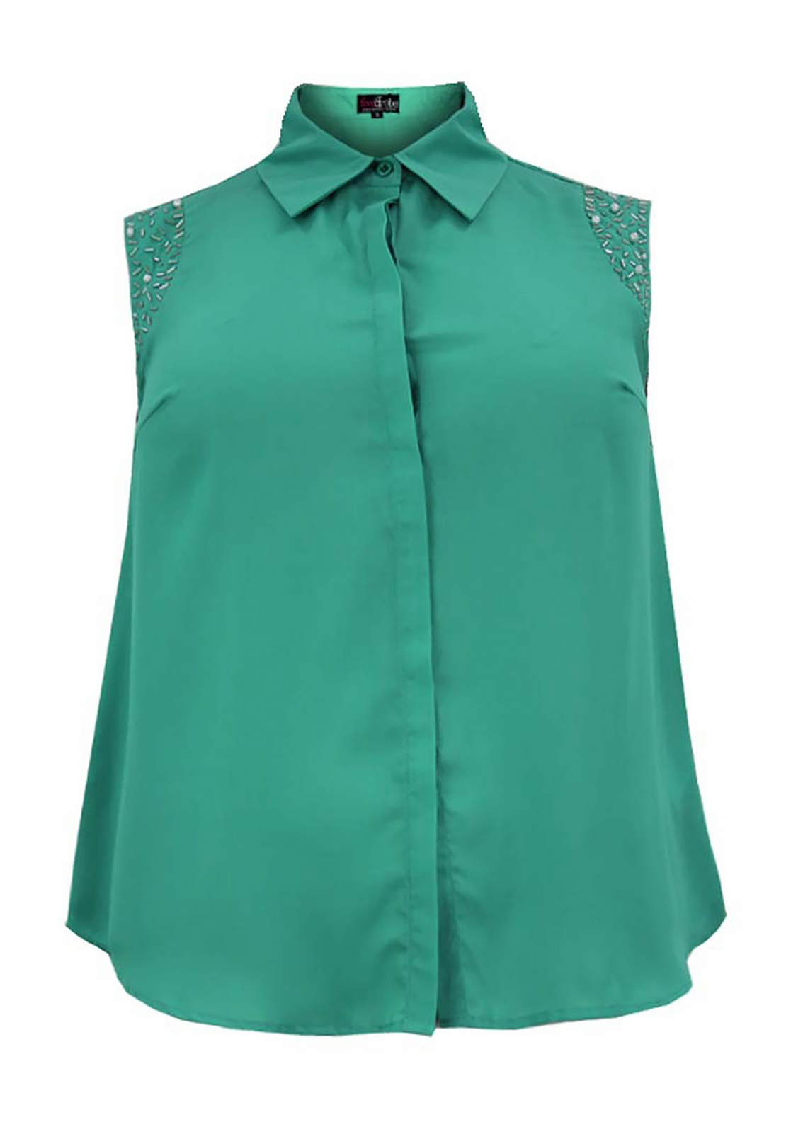 Lovedrobe Sleeveless Embellished Top, Green