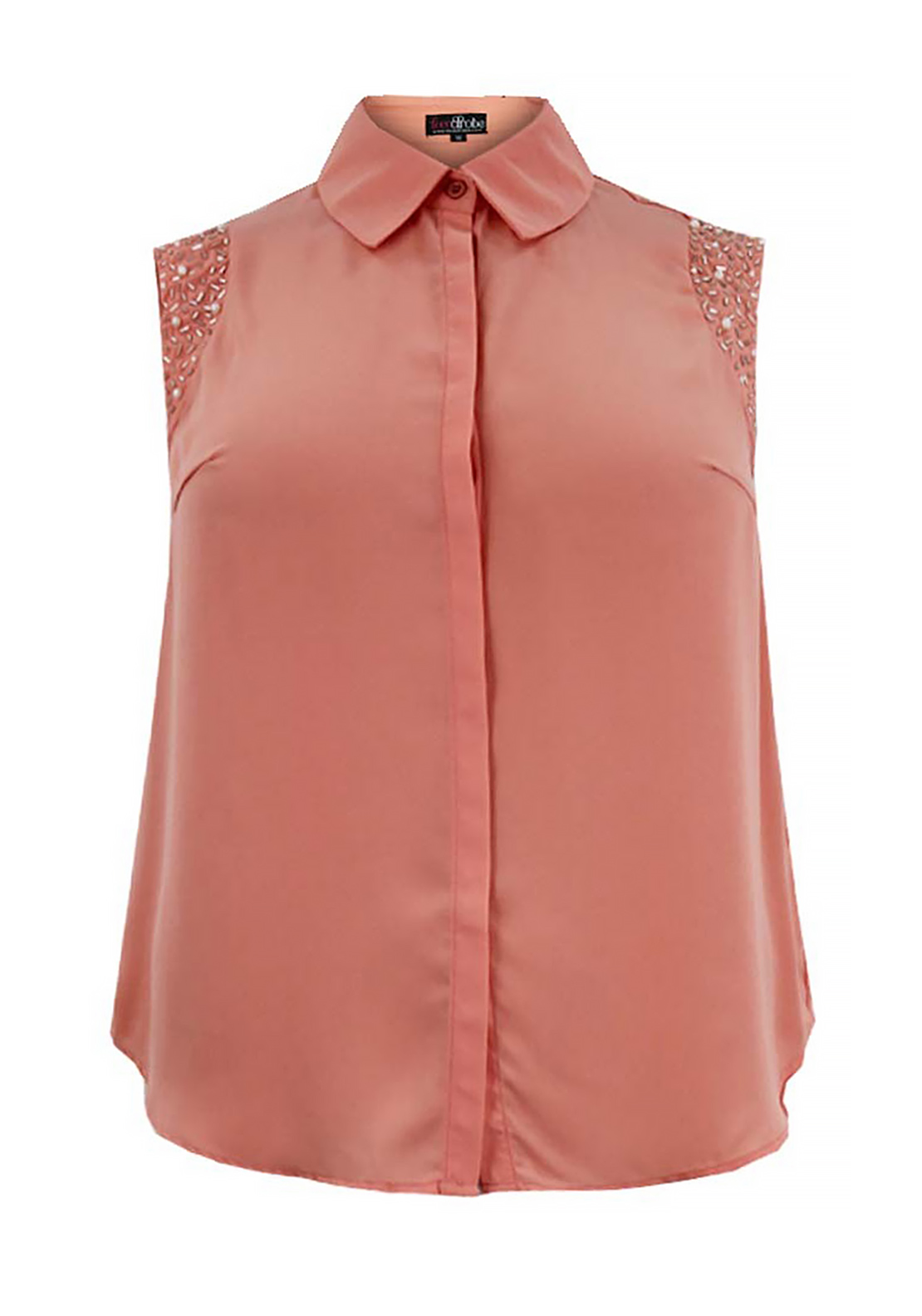 Lovedrobe Sleeveless Embellished Top, Peach