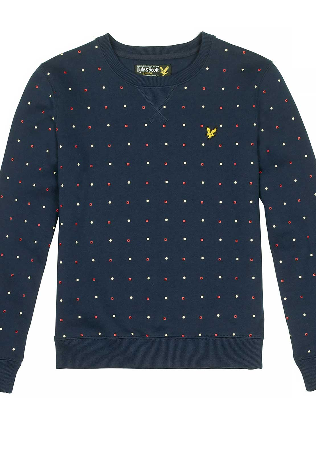 Lyle & Scott Boys Geo Print Sweatshirt Jumper, Navy Blazer