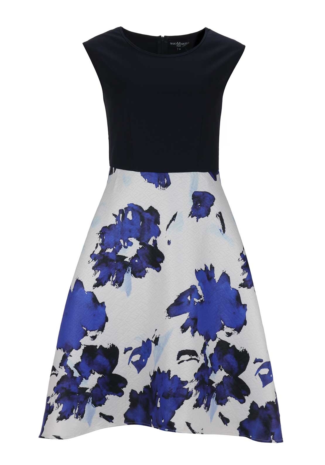Boutique Contrast Digital Print Fit and Flare Midi Dress, Navy