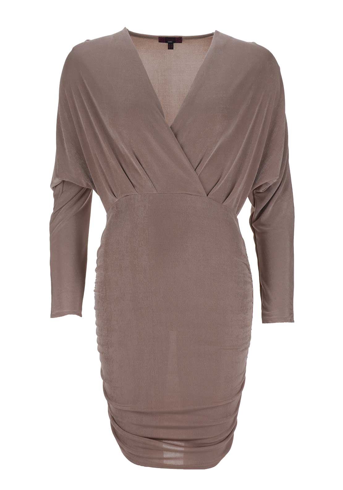 Boutique Long Sleeve V Neck Ruched Bodycon Dress, Rose Gold