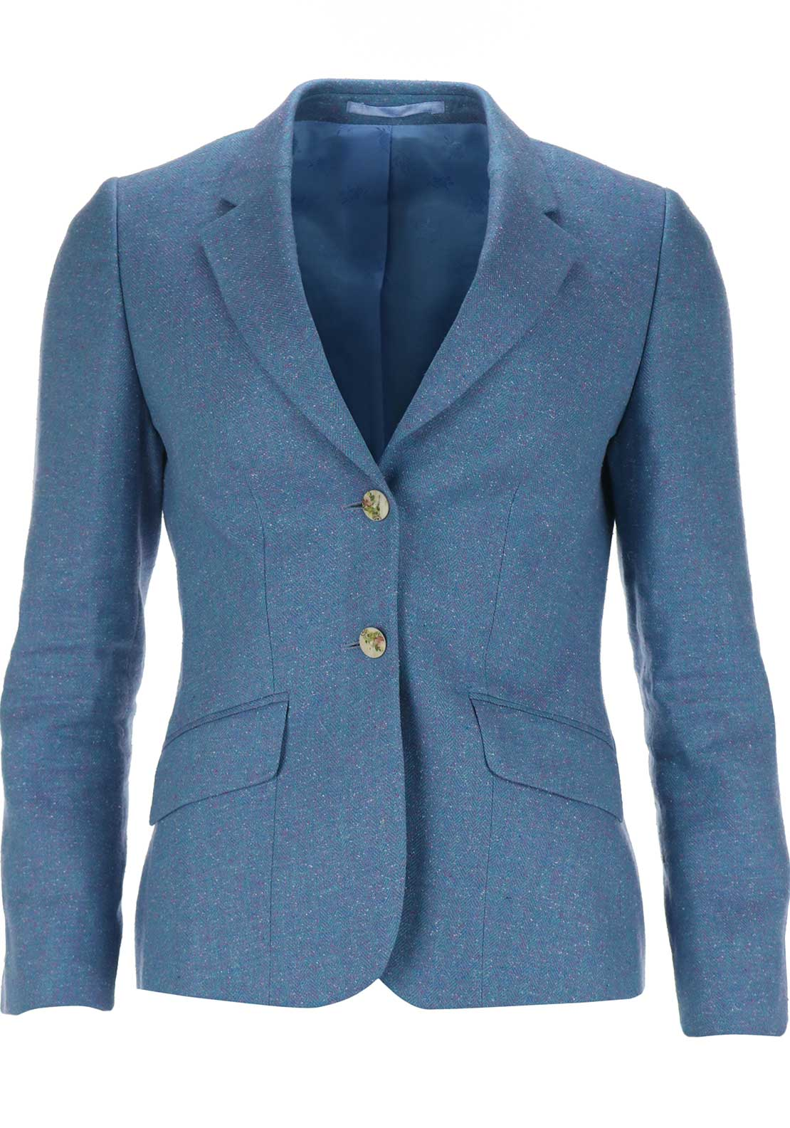Magee 1866 Womens Alicia Linen and Silk Tweed Blend Blazer Jacket, Blue