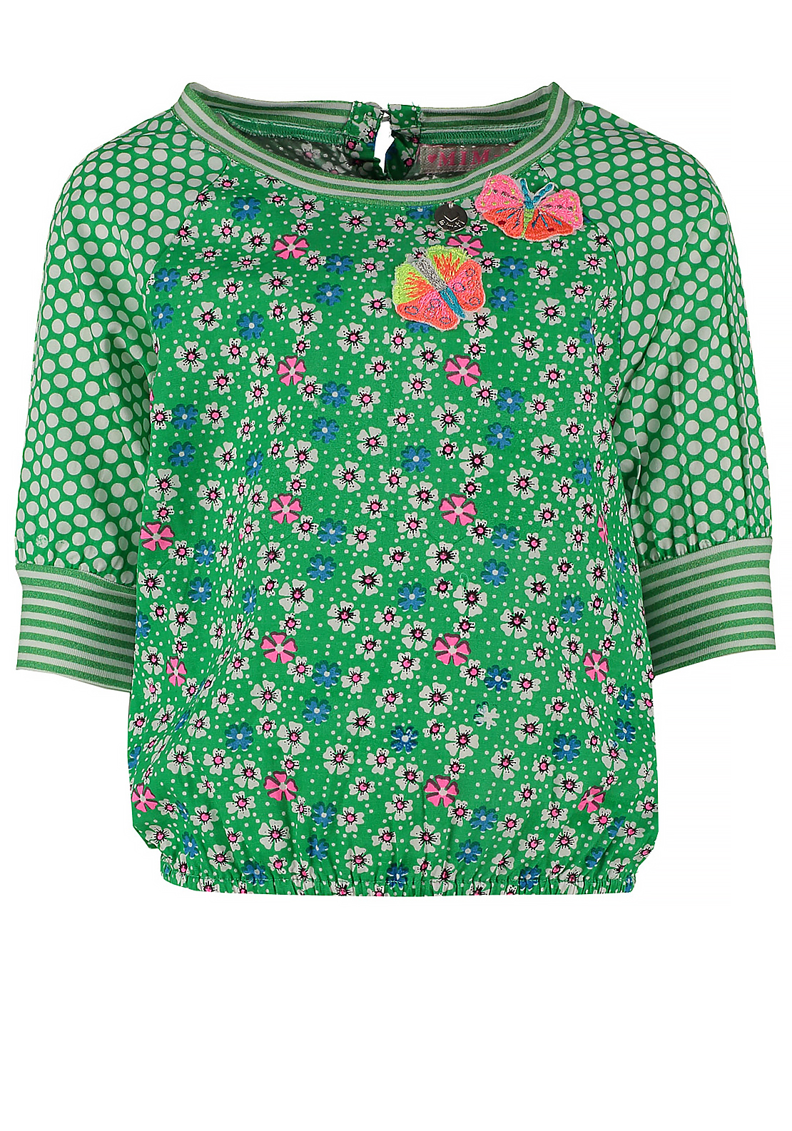 Mim-Pi Cropped Sleeve Floral Print Top, Green