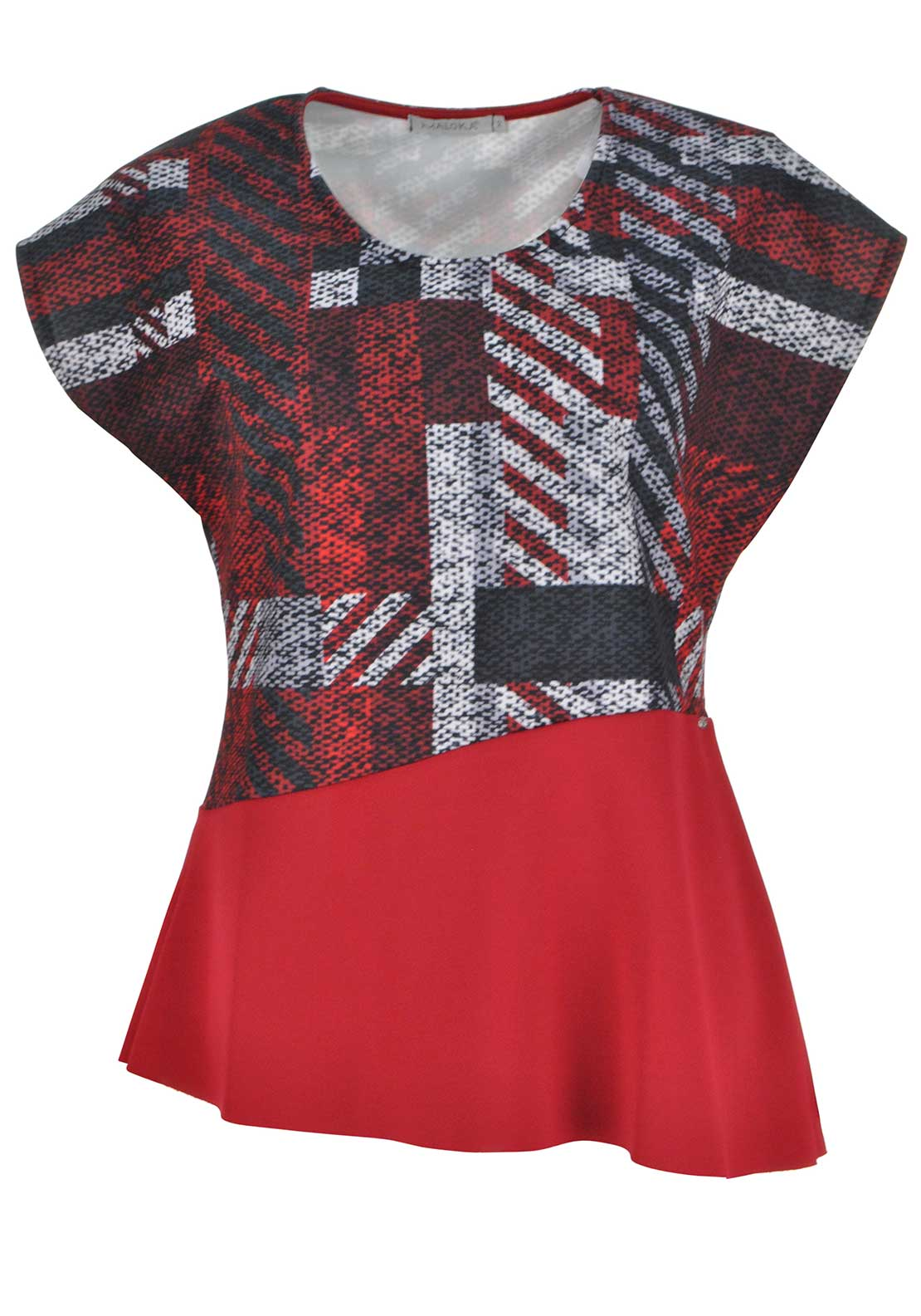 Maloka Printed Scuba Jersey Cap Sleeve Top, Red Multi