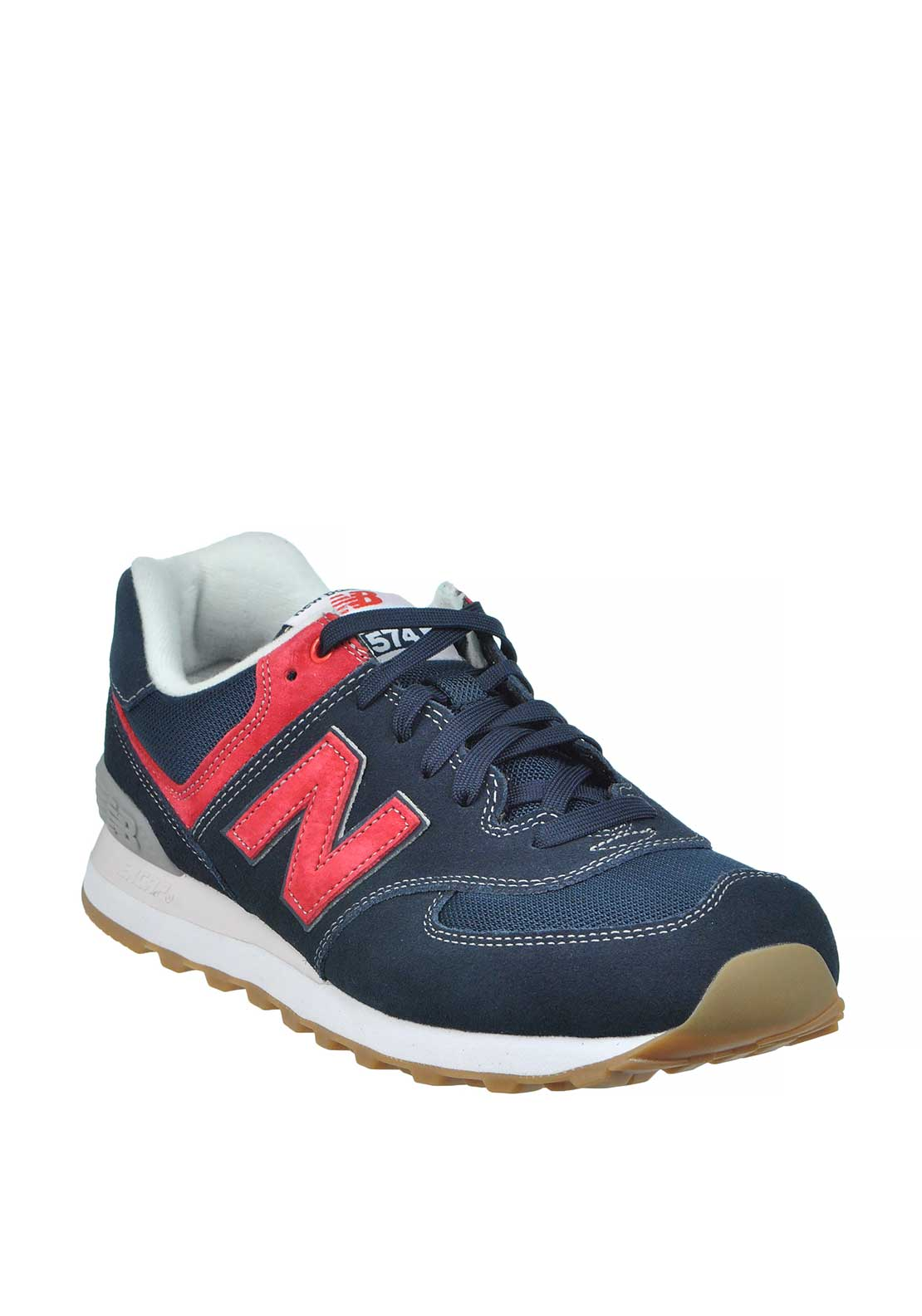 New Balance Mens 574 Fashion Runners, Navy & Red