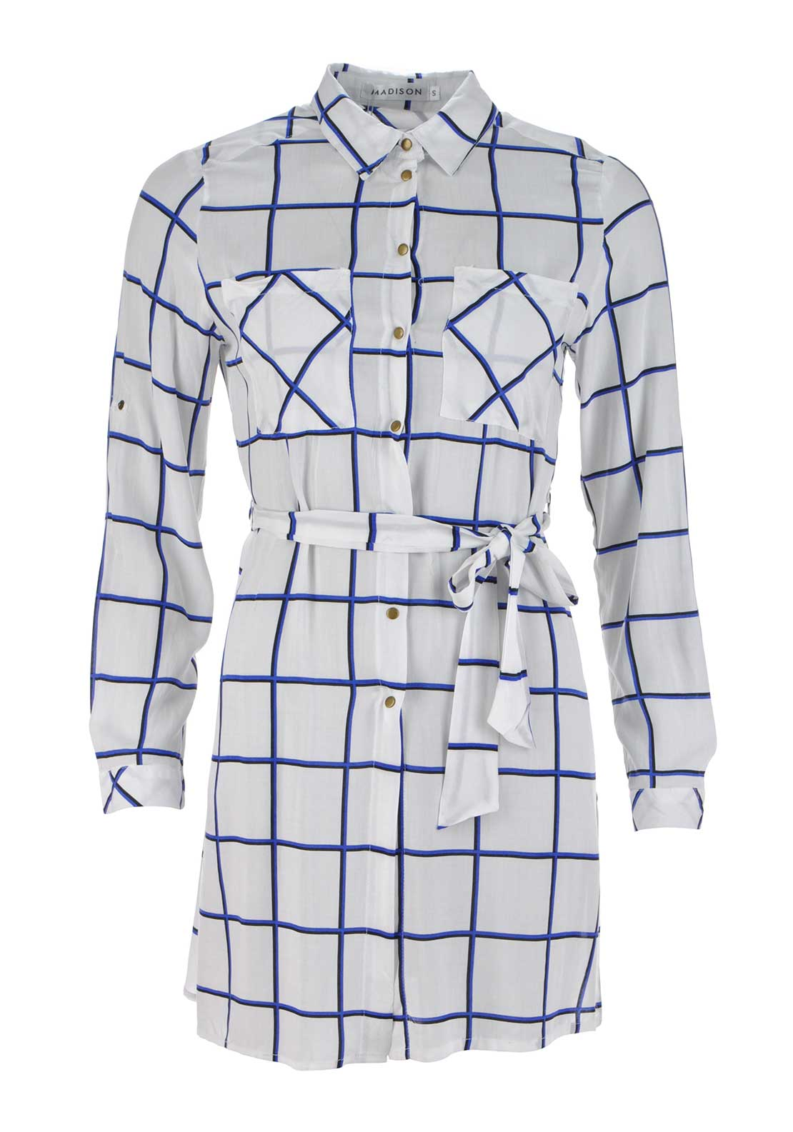 Boutique Grid Print Cotton Shirt Dress, White
