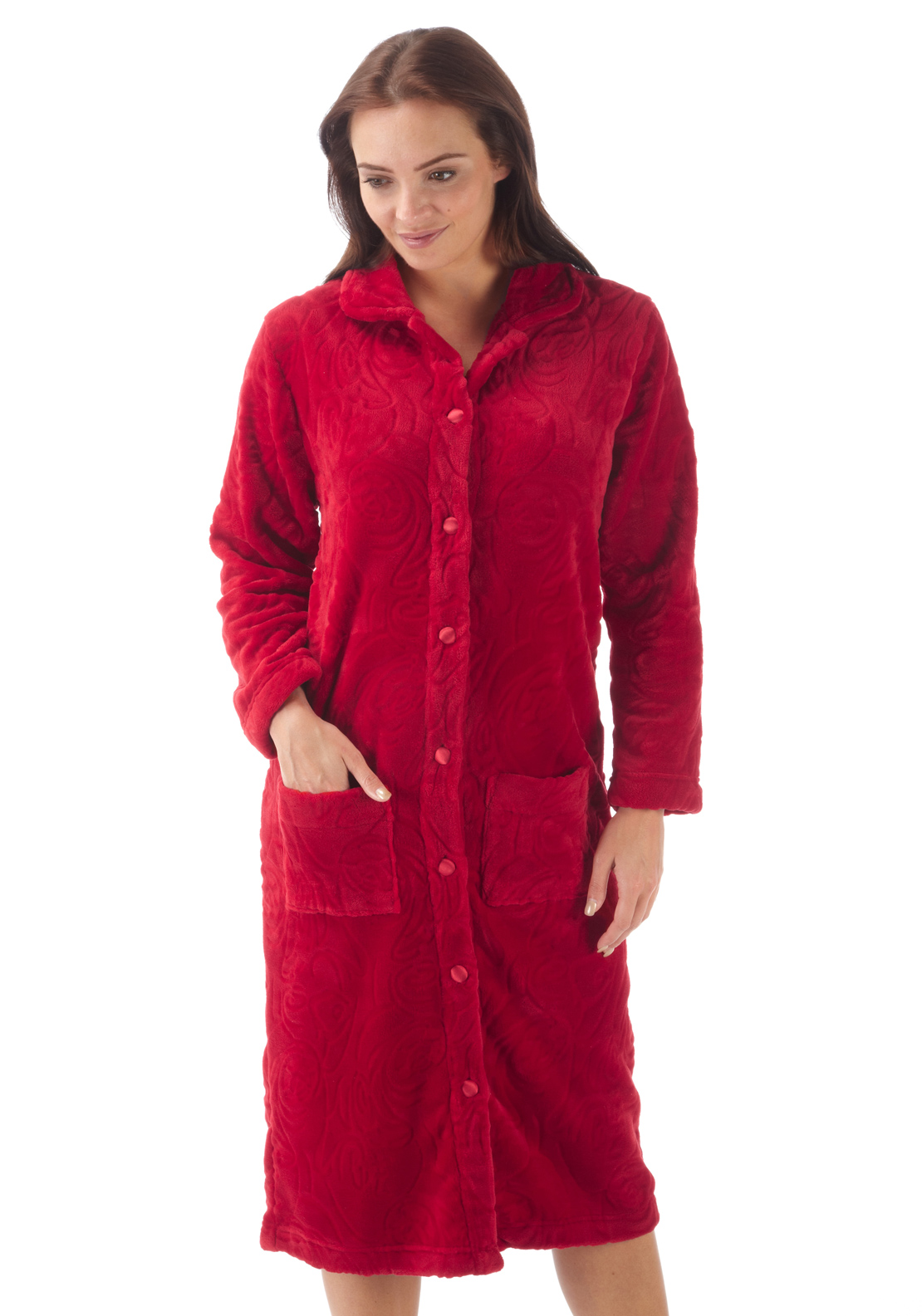 Marlon Button Front Embossed Print Fleece Dressing Gown, Red